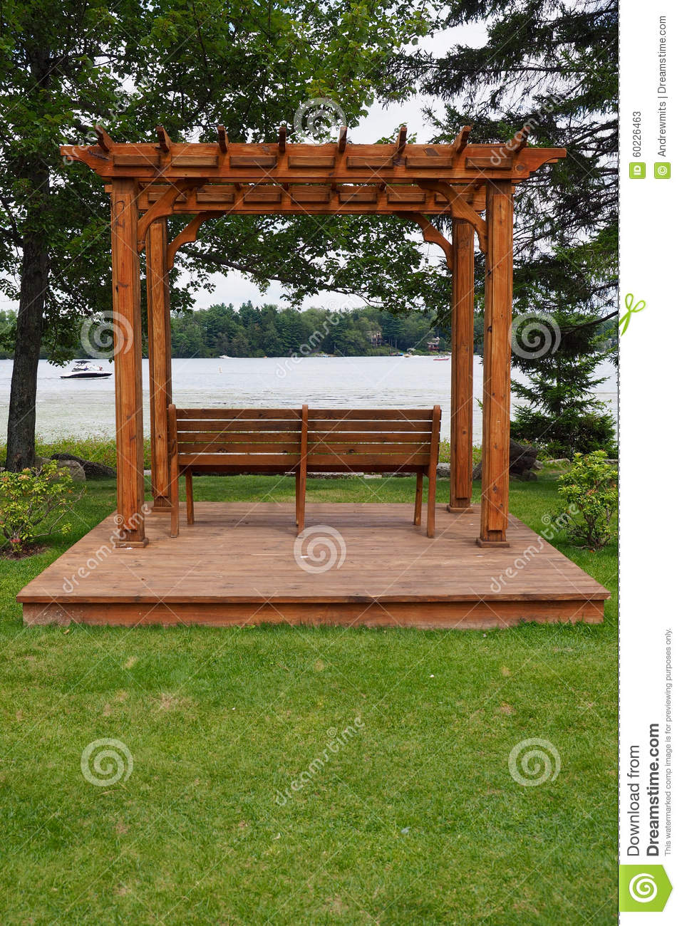 Astonishing Pergola With Lake View Stock Image Image Of Trees Park Forskolin Free Trial Chair Design Images Forskolin Free Trialorg