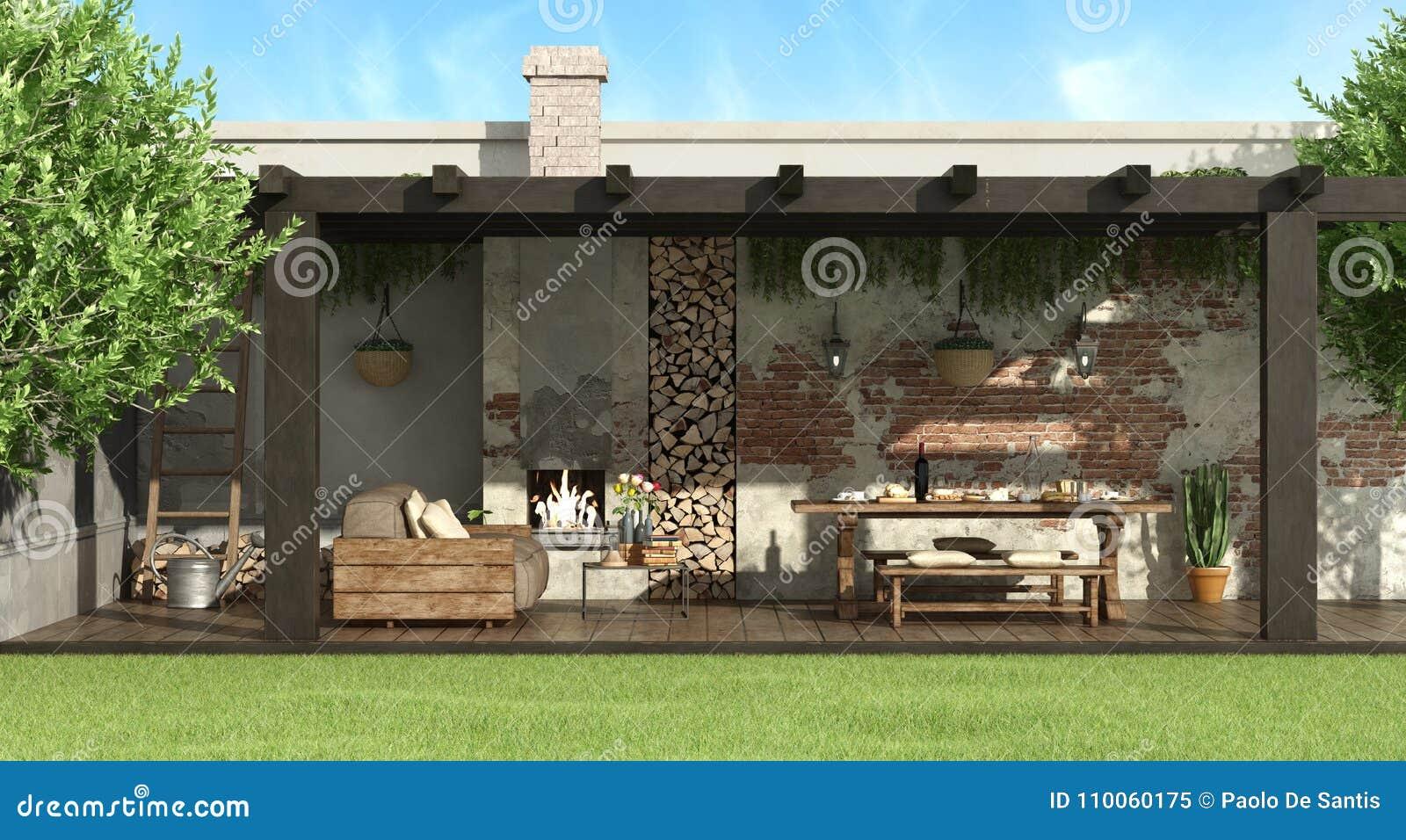 Tavolo Da Giardino Con Barbecue.Pergola Rustica In Un Giardino Illustrazione Di Stock