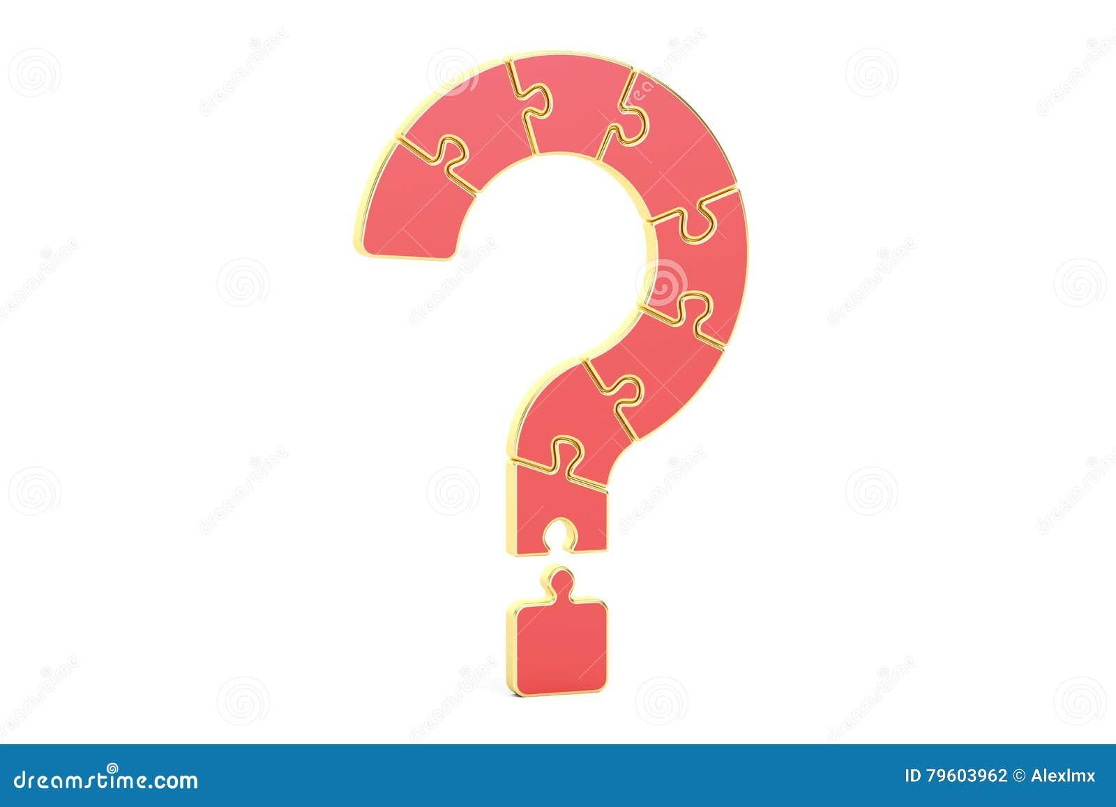 Pergunta vermelha Mark Puzzle, rendição 3D