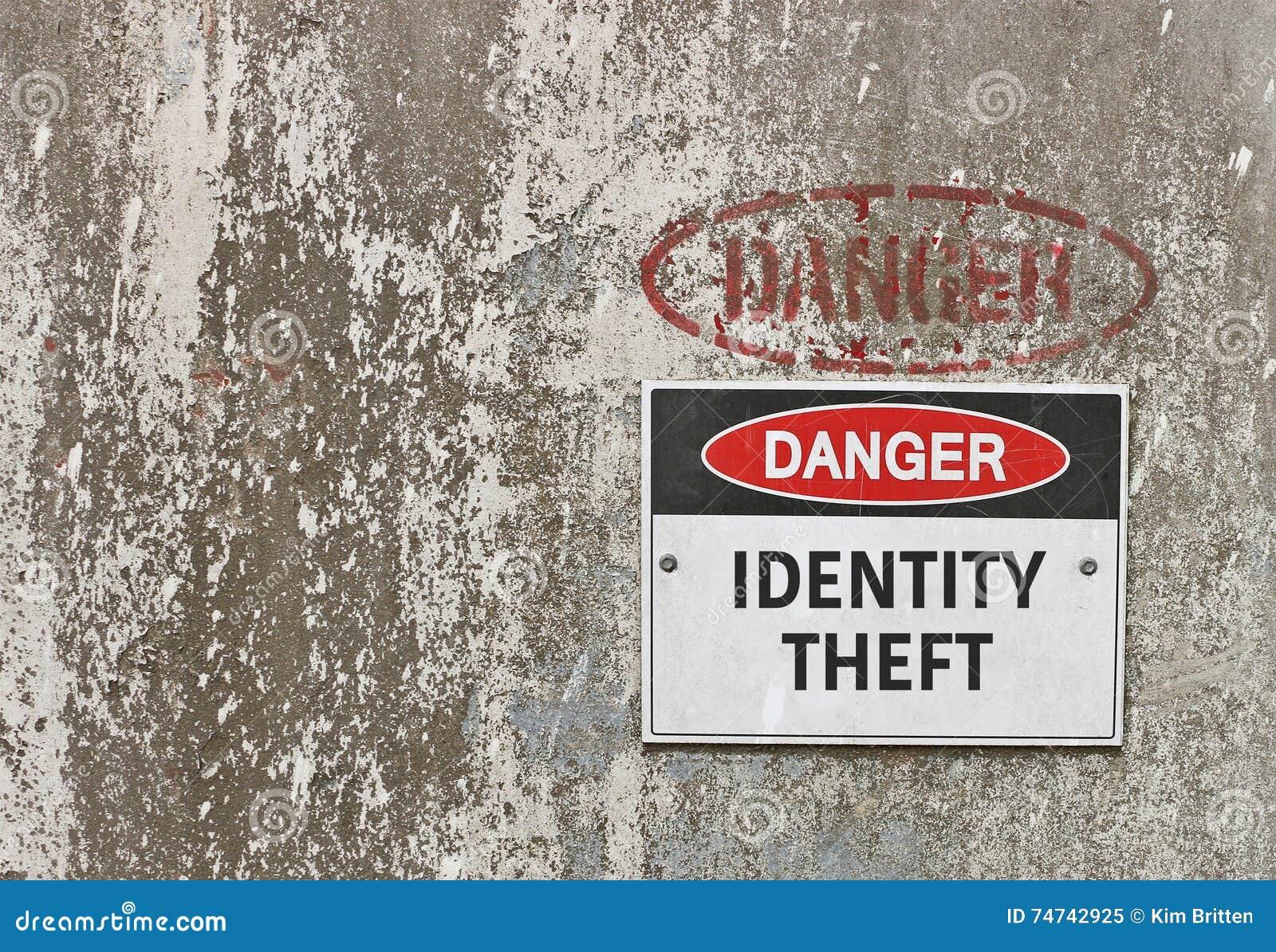 Perigo vermelho, preto e branco, sinal de aviso do roubo de identidade