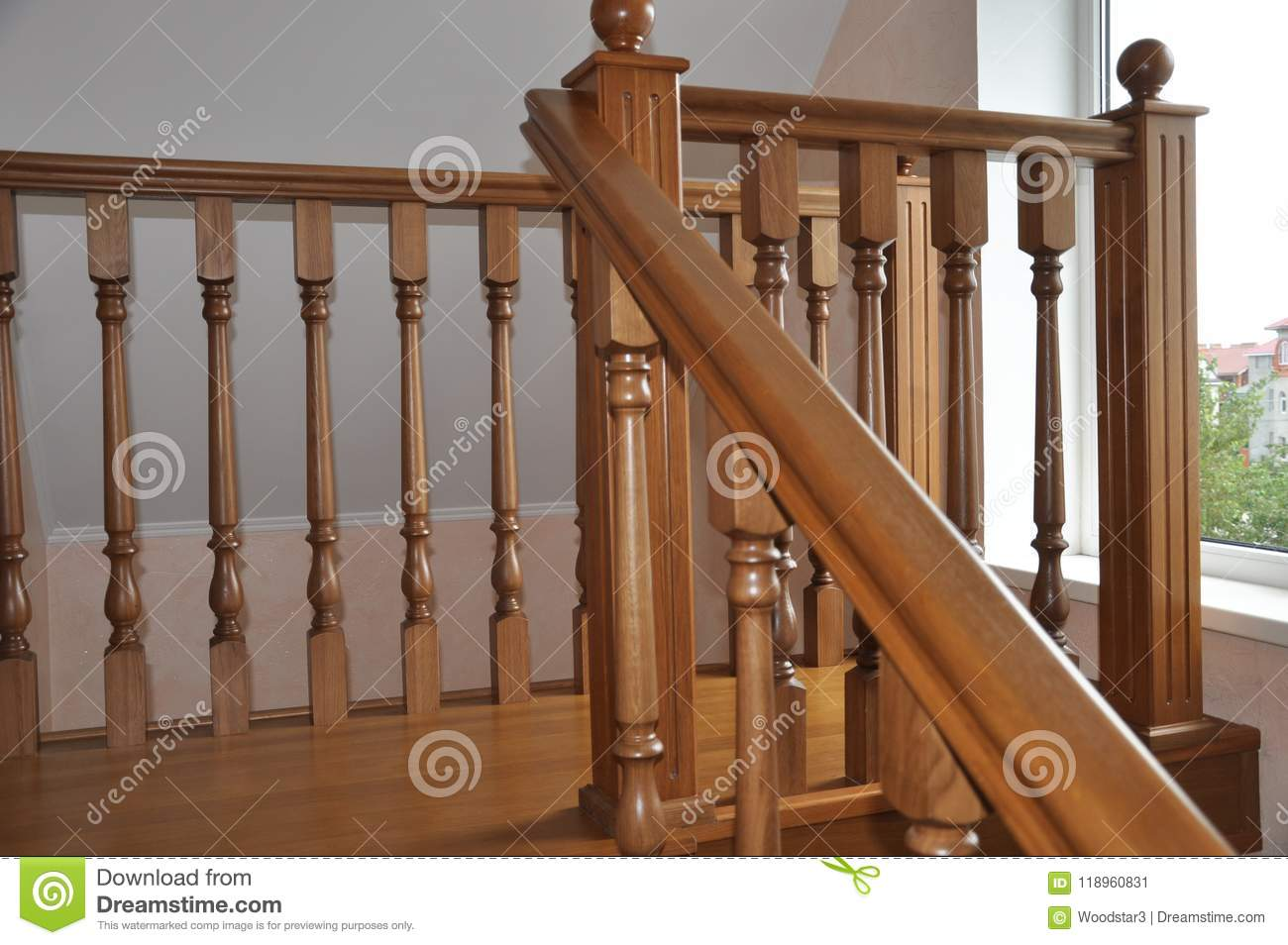 Oak Staircase, In A Private Modern House. Fragment Of The Third Floor.