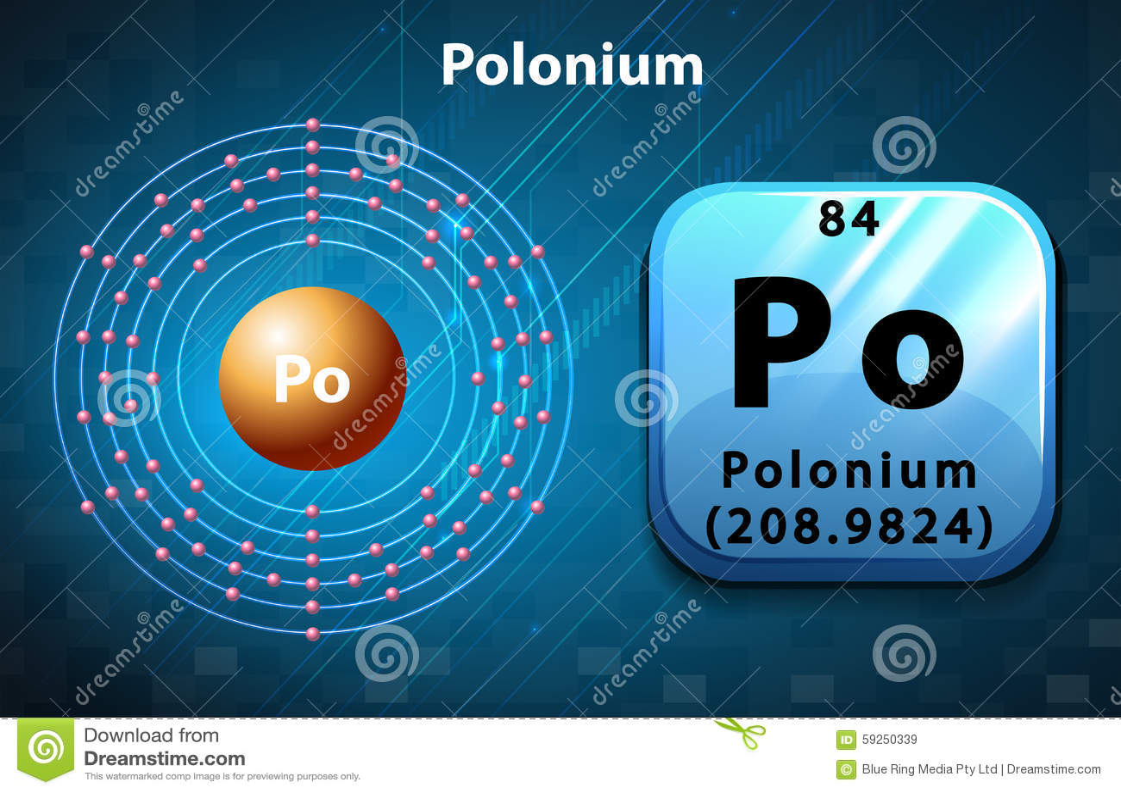 periodic symbol and electron diagram of polonium stock vector