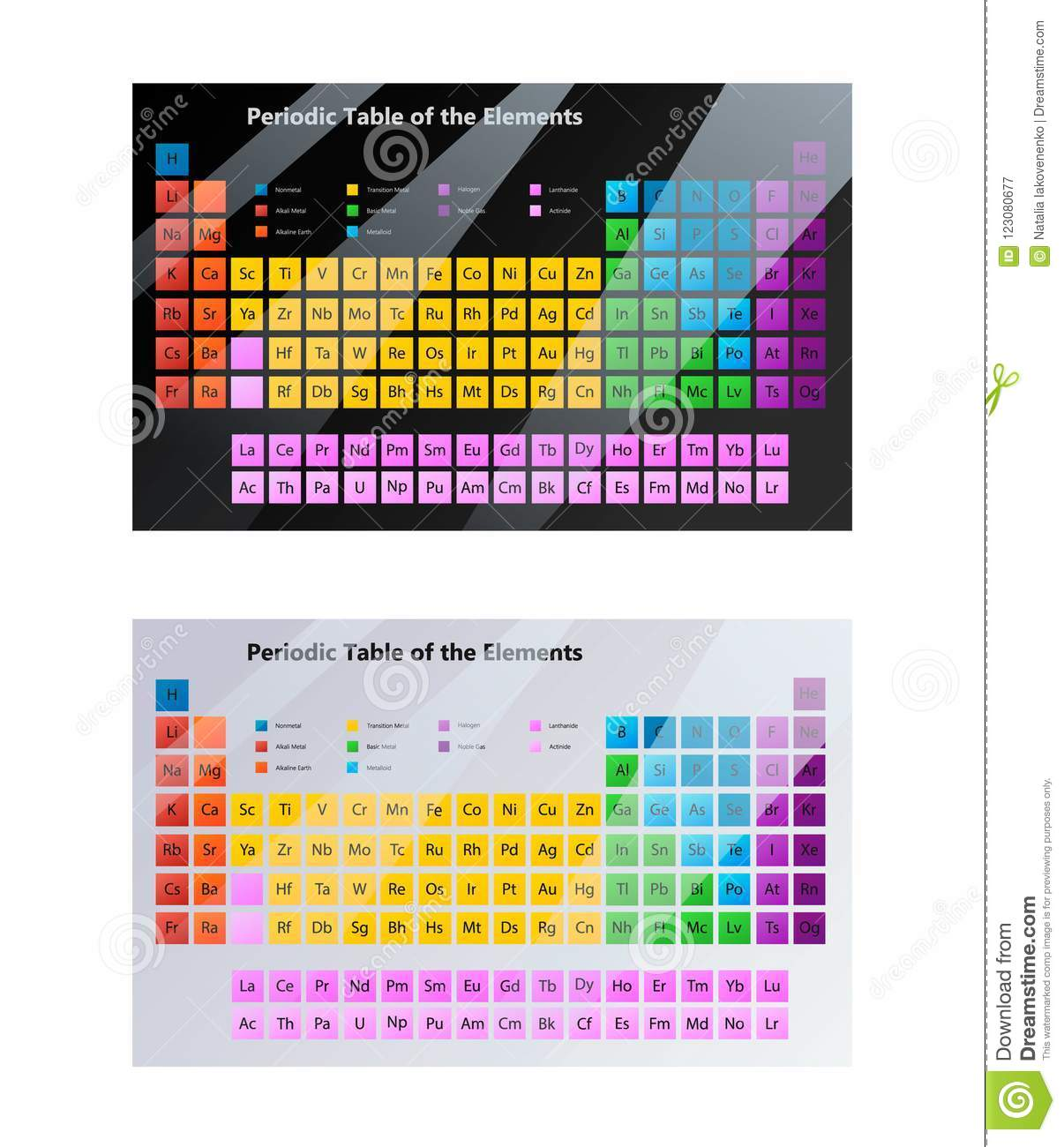 Periodic Table For Chemistry Illustrations Stock Vector