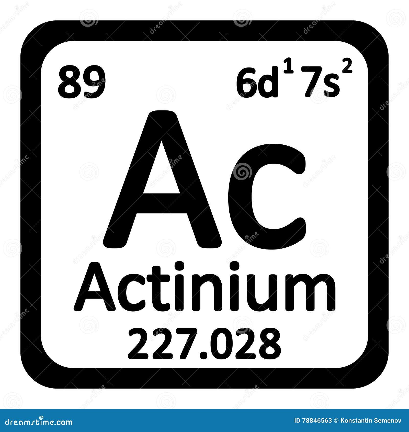 Periodic Table Element Actinium Icon Stock Illustration
