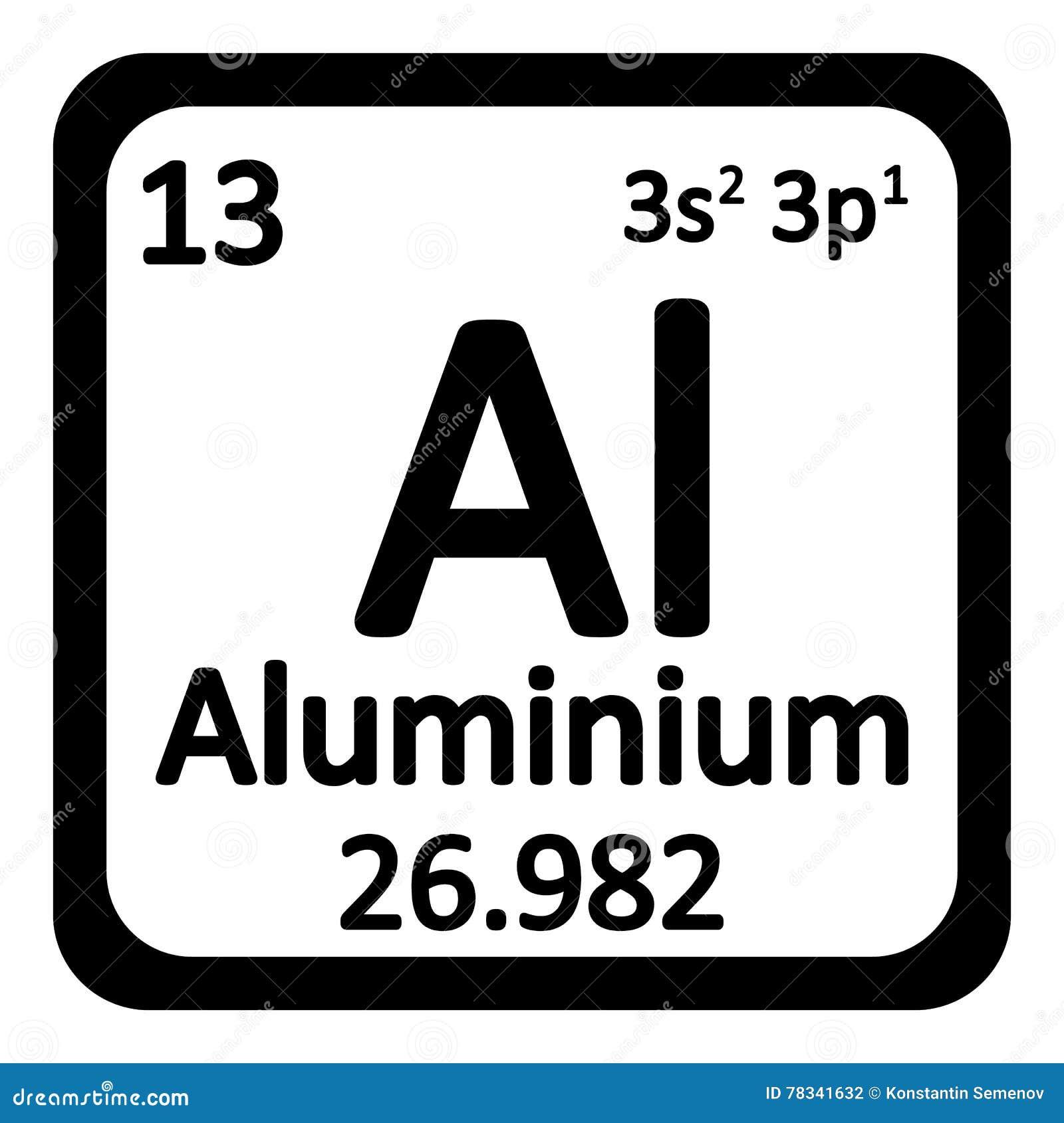Periodic Table Element Aluminium Icon Stock Illustration