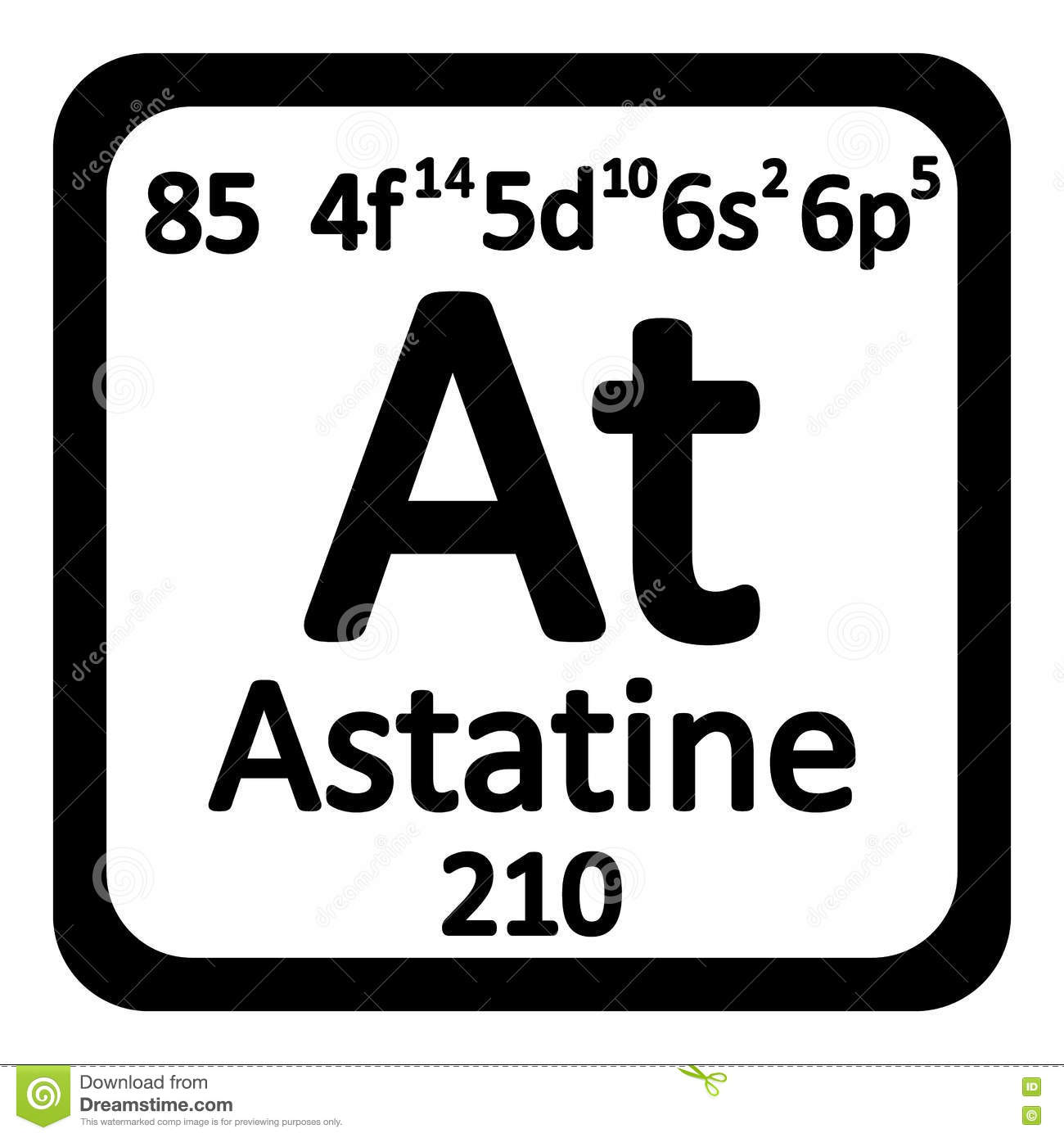 Element of astatine vector illustration cartoondealer for Periodic table 85 elements