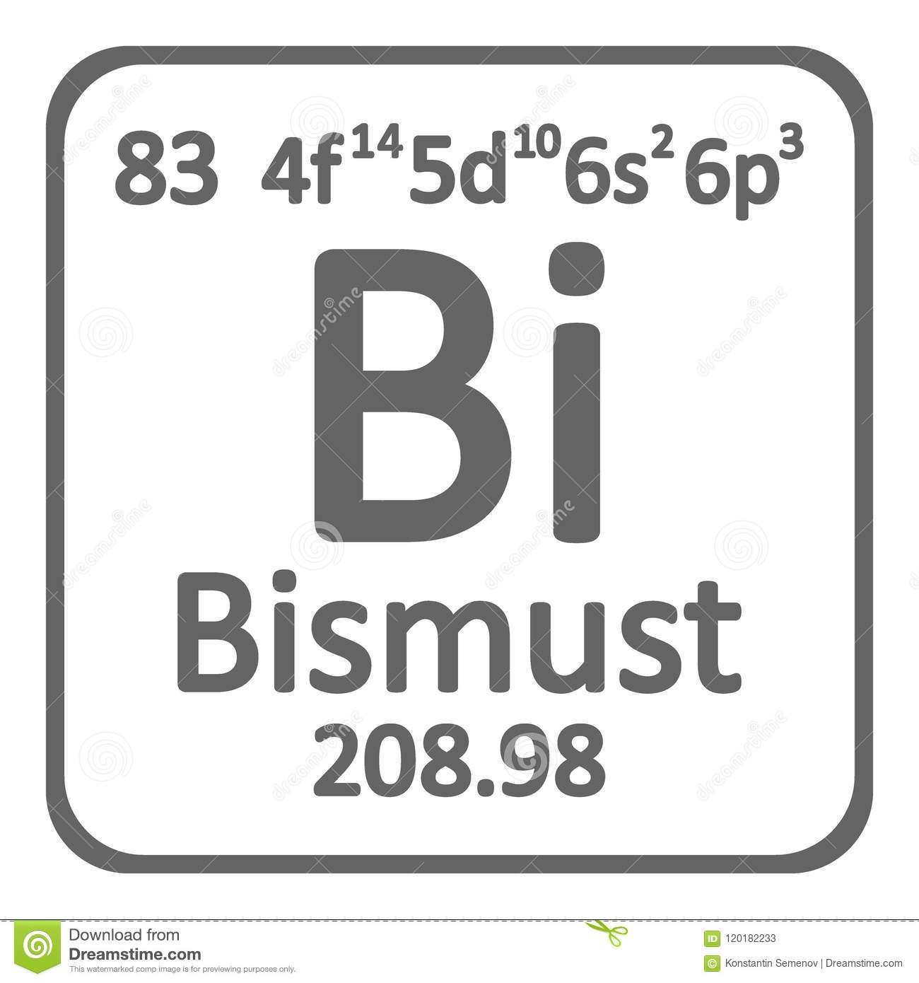 Periodic Table Element Bismuth Icon Stock Illustration