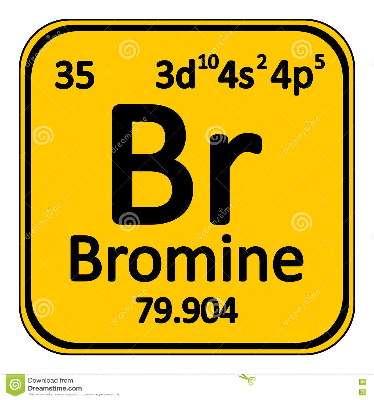 Periodic Table Element Bromine Icon. Stock Illustration - Image ...