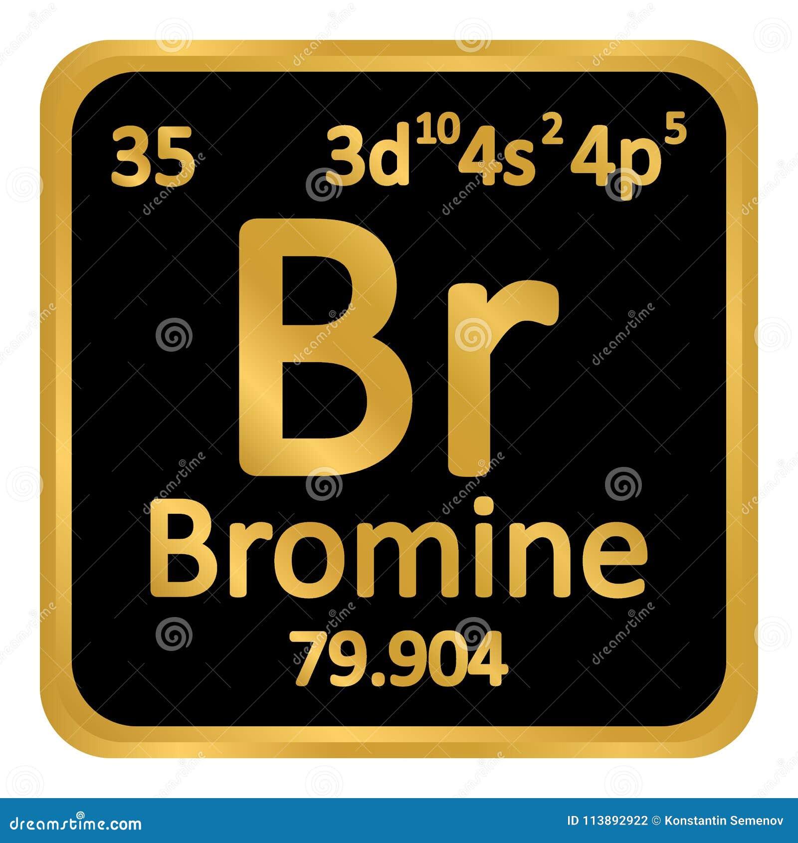 Periodic Table Element Bromine Icon Stock Illustration