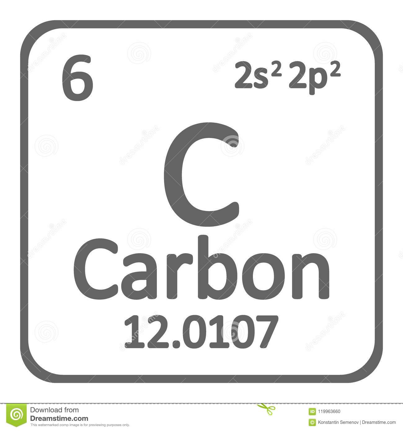 Periodic Table Element Carbon Icon Stock Illustration