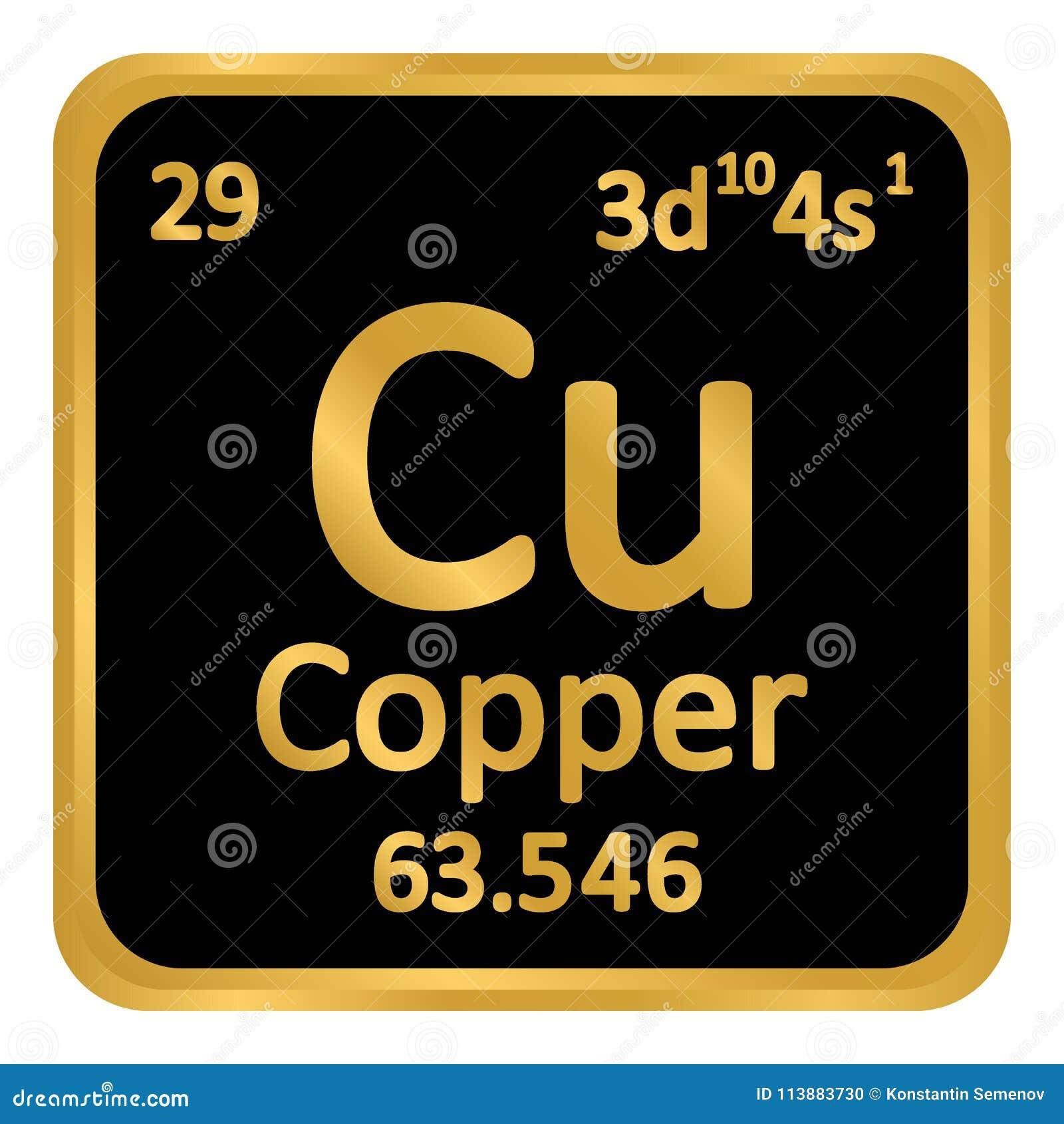 Periodic Table Element Copper Icon Stock Illustration