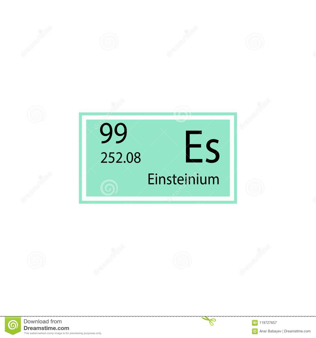 Periodic Table Element Einsteinium Icon Element Of Chemical Sign
