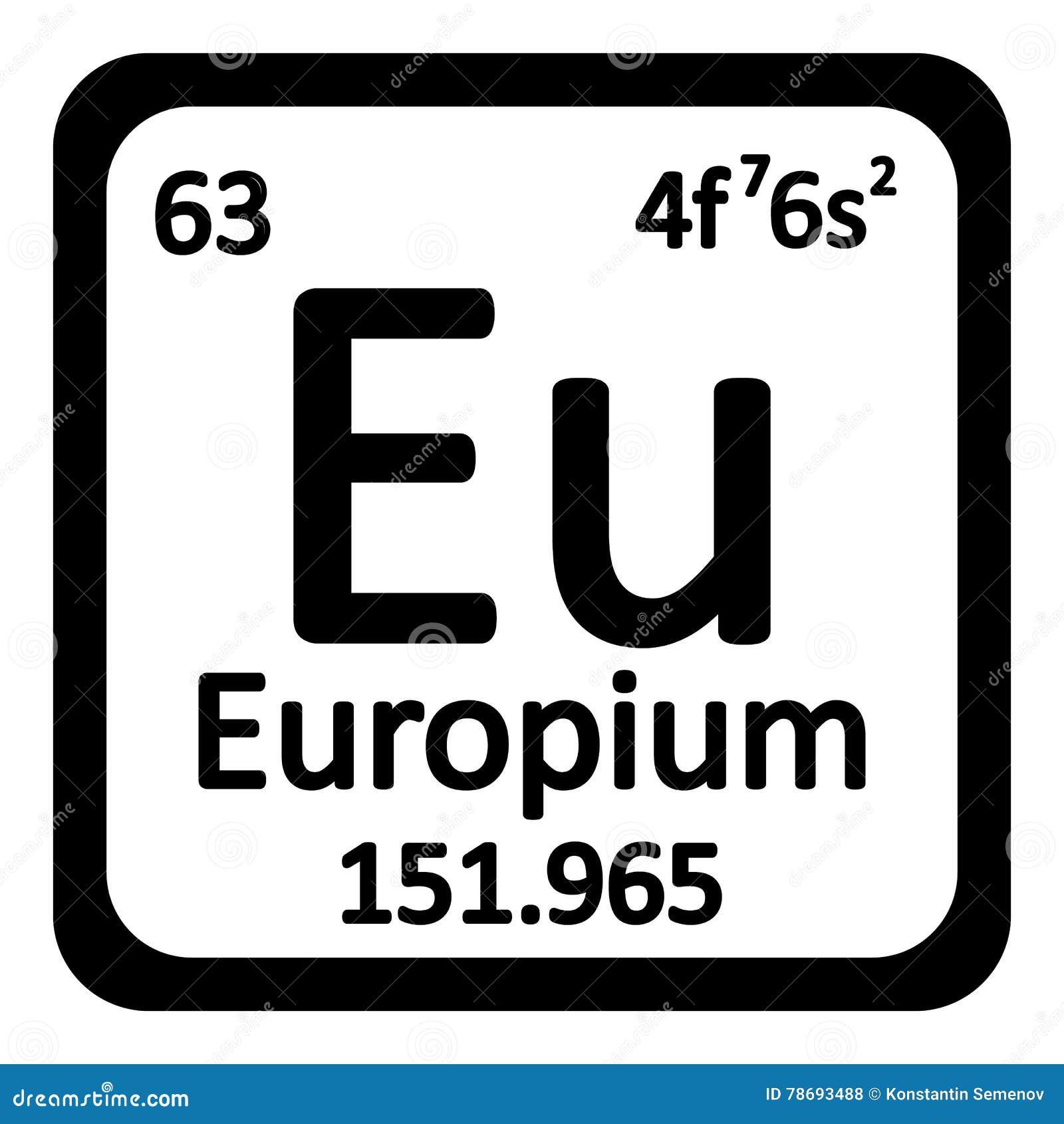 Periodic Table Element Europium Icon Stock Illustration