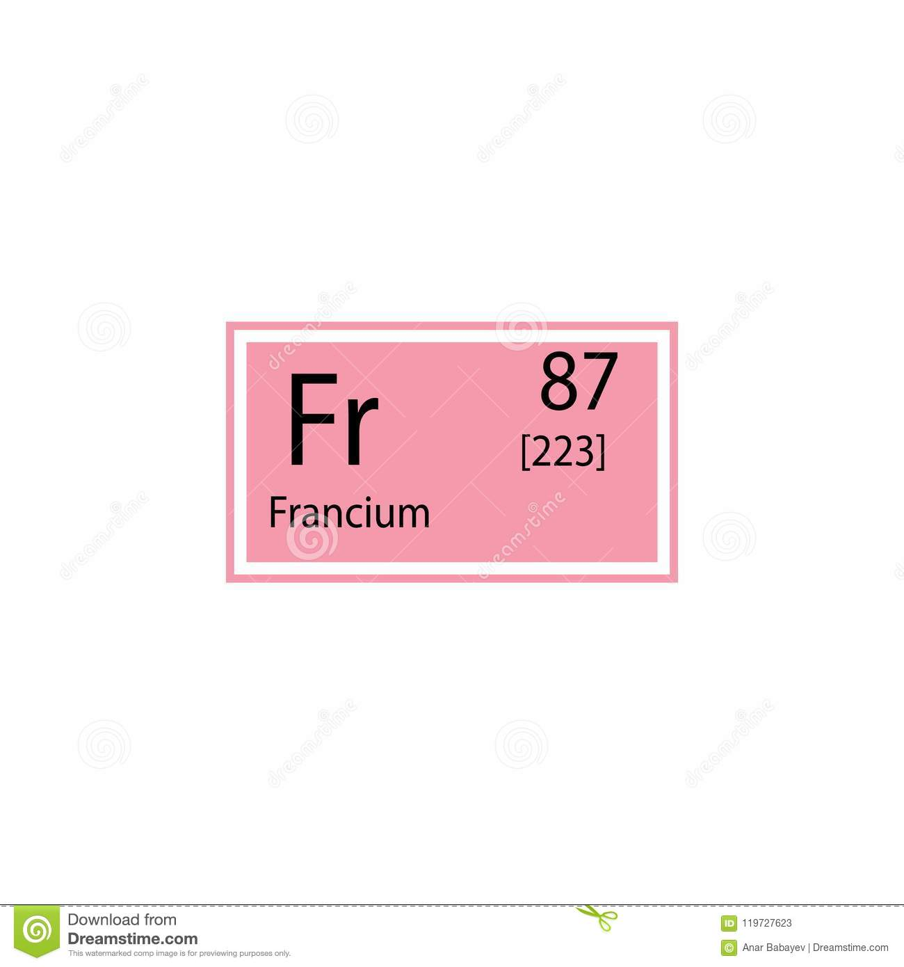 Periodic Table Element Francium Icon Element Of Chemical Sign Icon