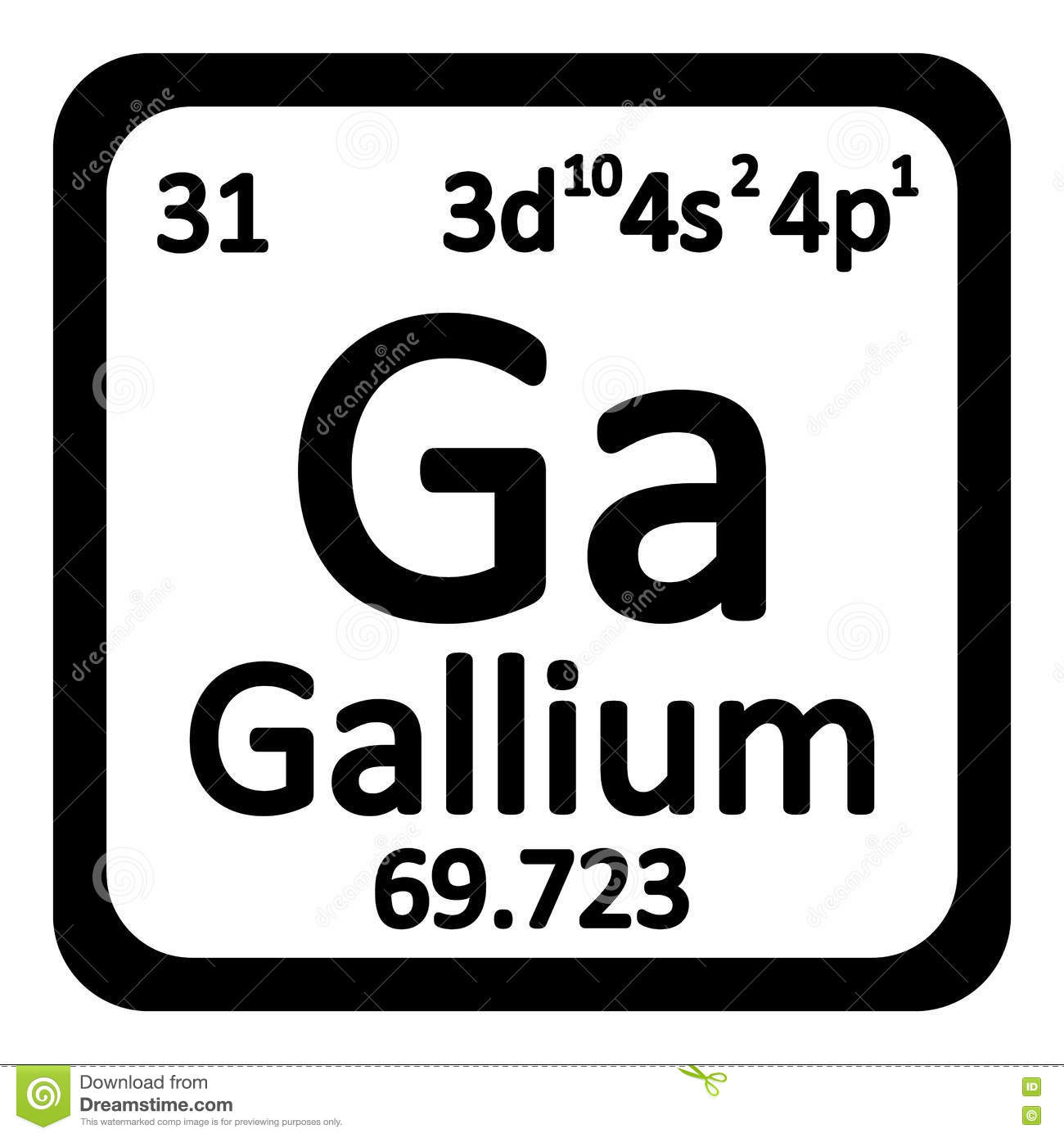 Periodic Table Element Gallium Icon Stock Illustration