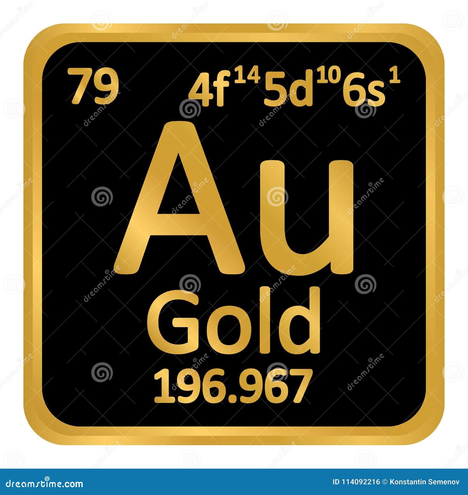 Periodic Table Element Gold Icon Stock Illustration Illustration