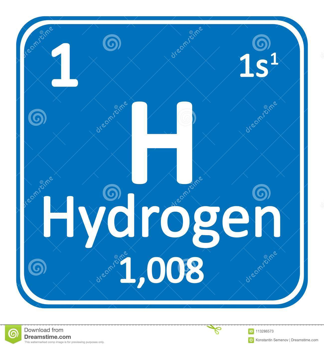 Periodic Table Element Hydrogen Icon Stock Illustration