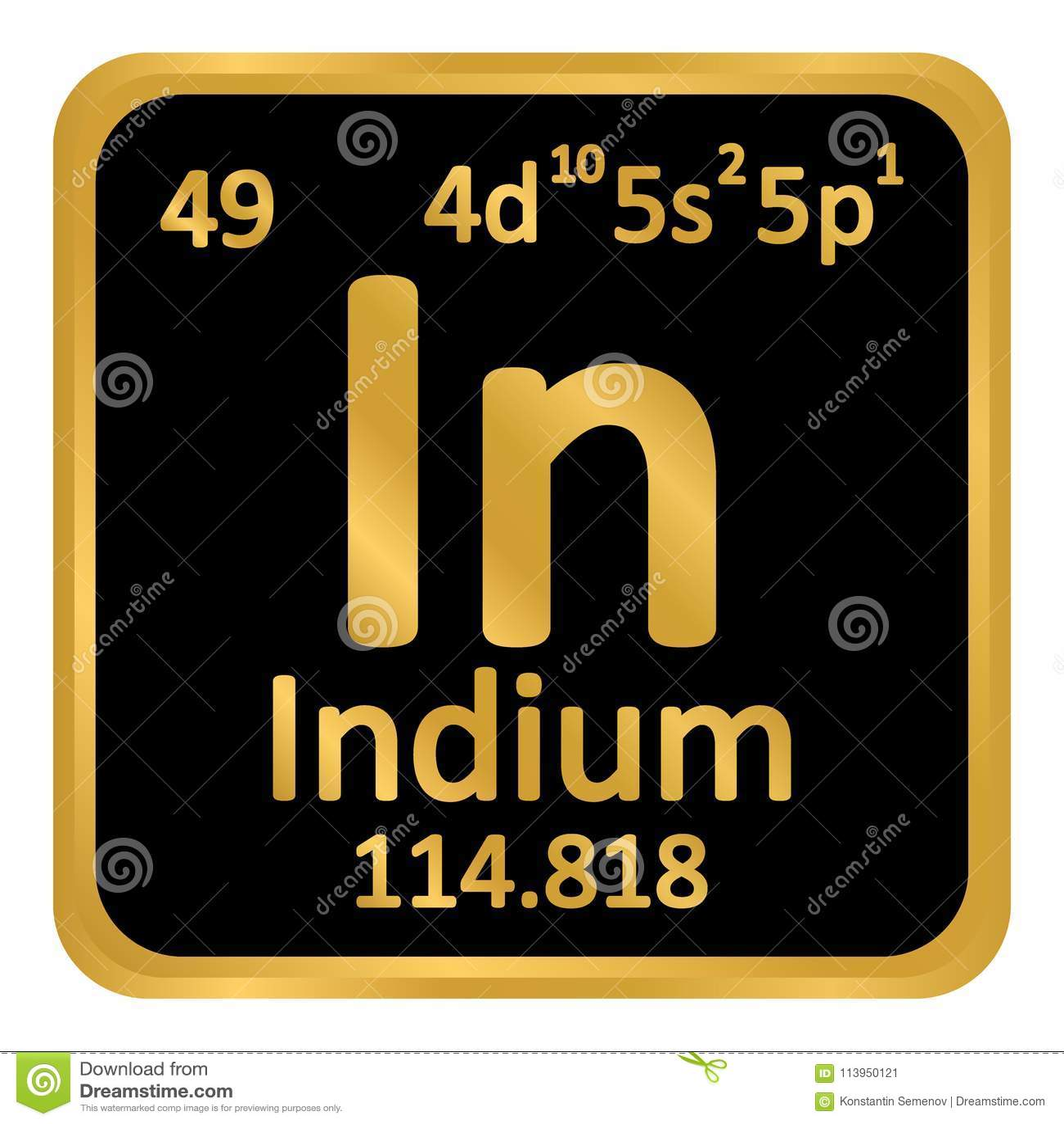 Periodic Table Element Indium Icon Stock Illustration