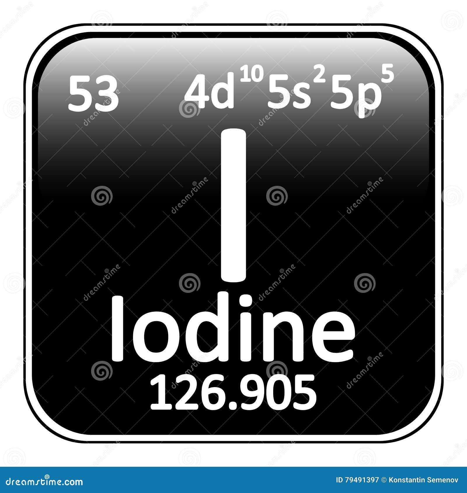 Periodic Table Element Iodine Icon Stock Illustration