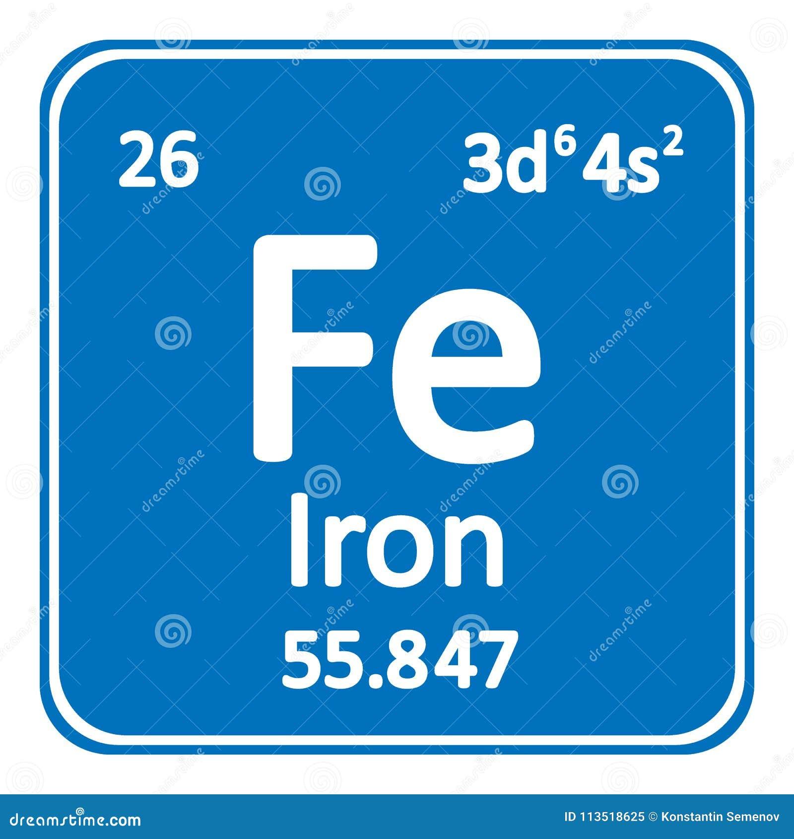Periodic Table Element Iron Icon Stock Illustration Illustration