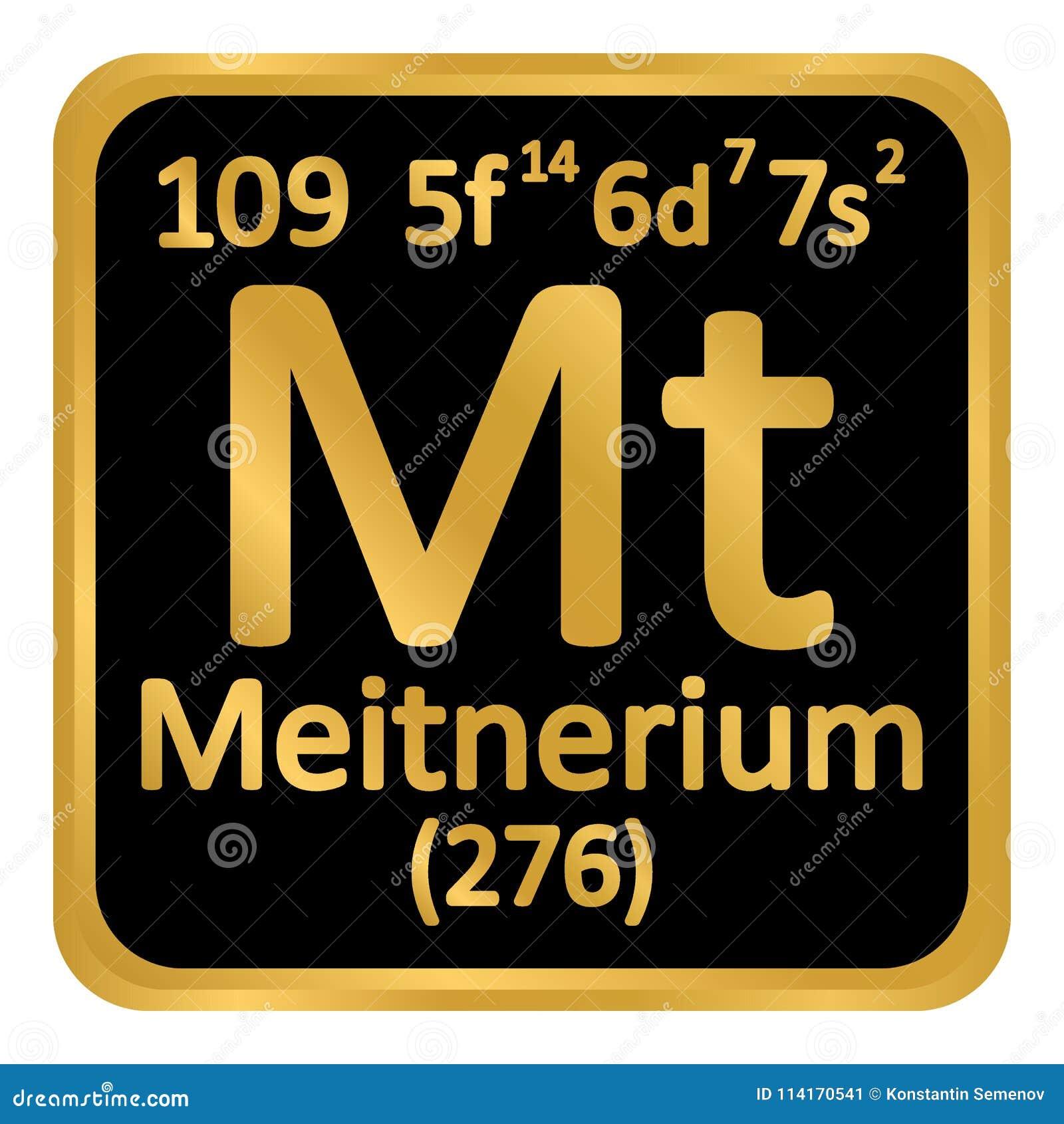 Periodic Table Element Meitnerium Icon Stock Illustration