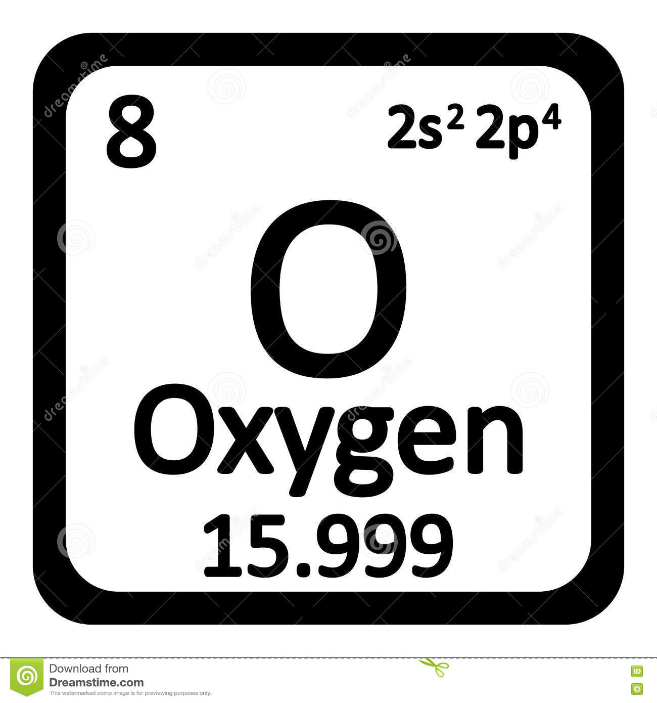 Periodic Table Element Oxygen Icon Stock Illustration