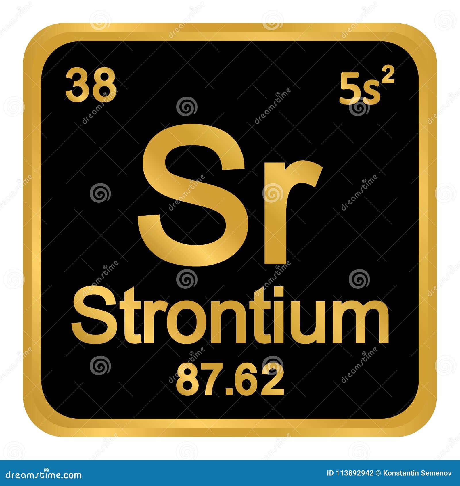 Periodic Table Element Strontium Icon Stock Illustration