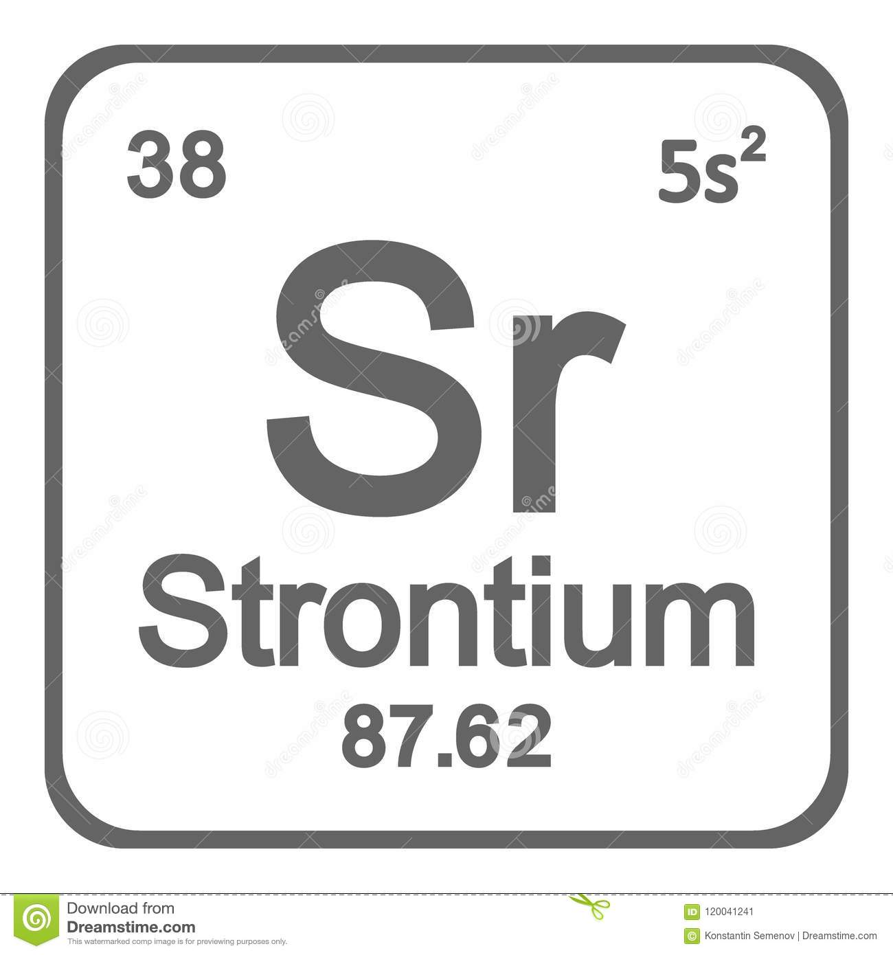 Periodic Table Element Strontium Icon Stock Illustration
