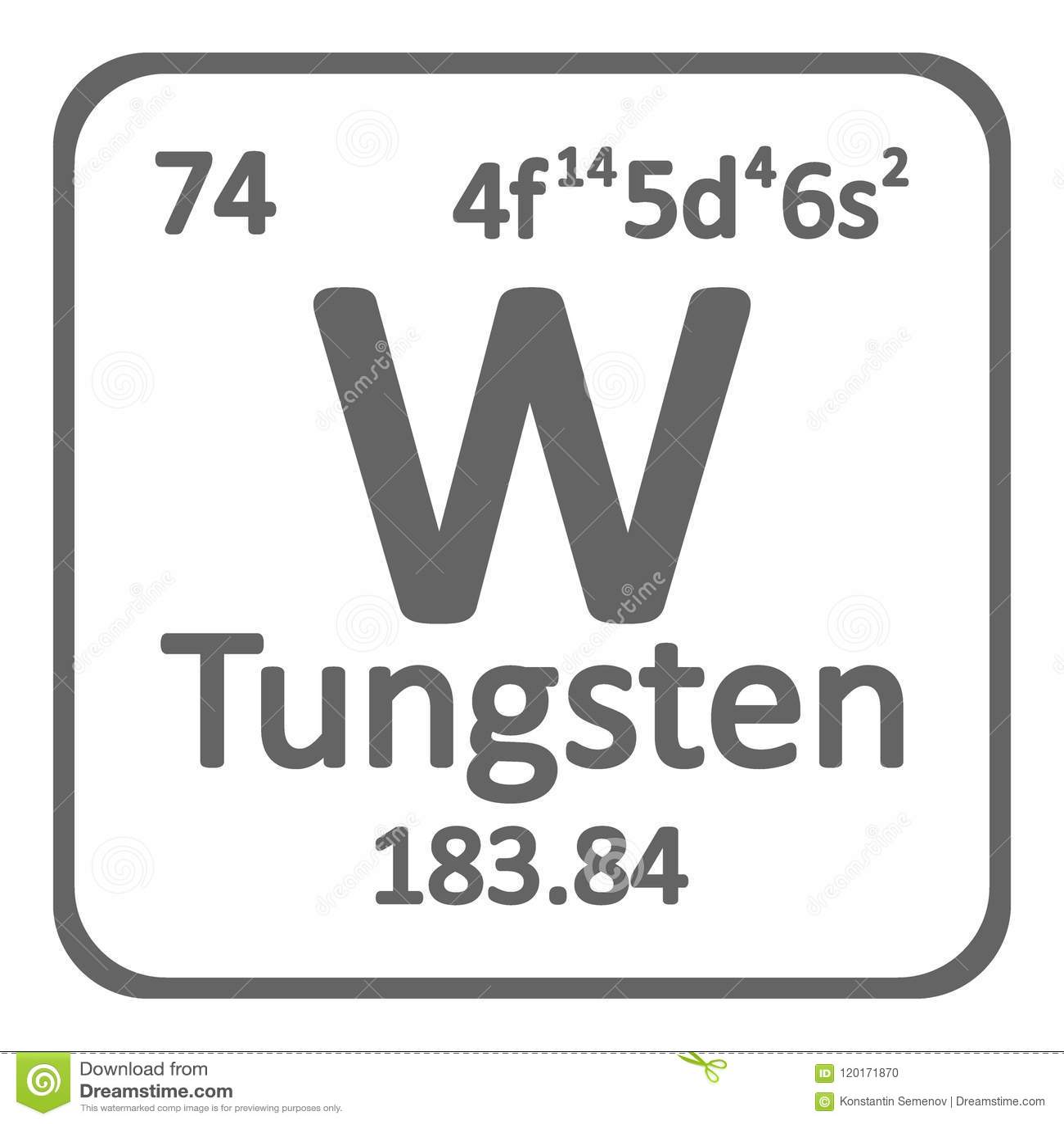 Periodic Table Element Tungsten Icon Stock Illustration