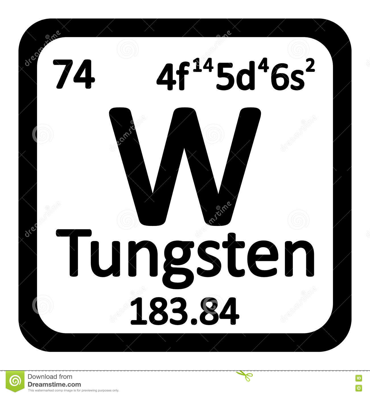 Periodic table element tungsten icon stock illustration - Tungsten symbol periodic table ...
