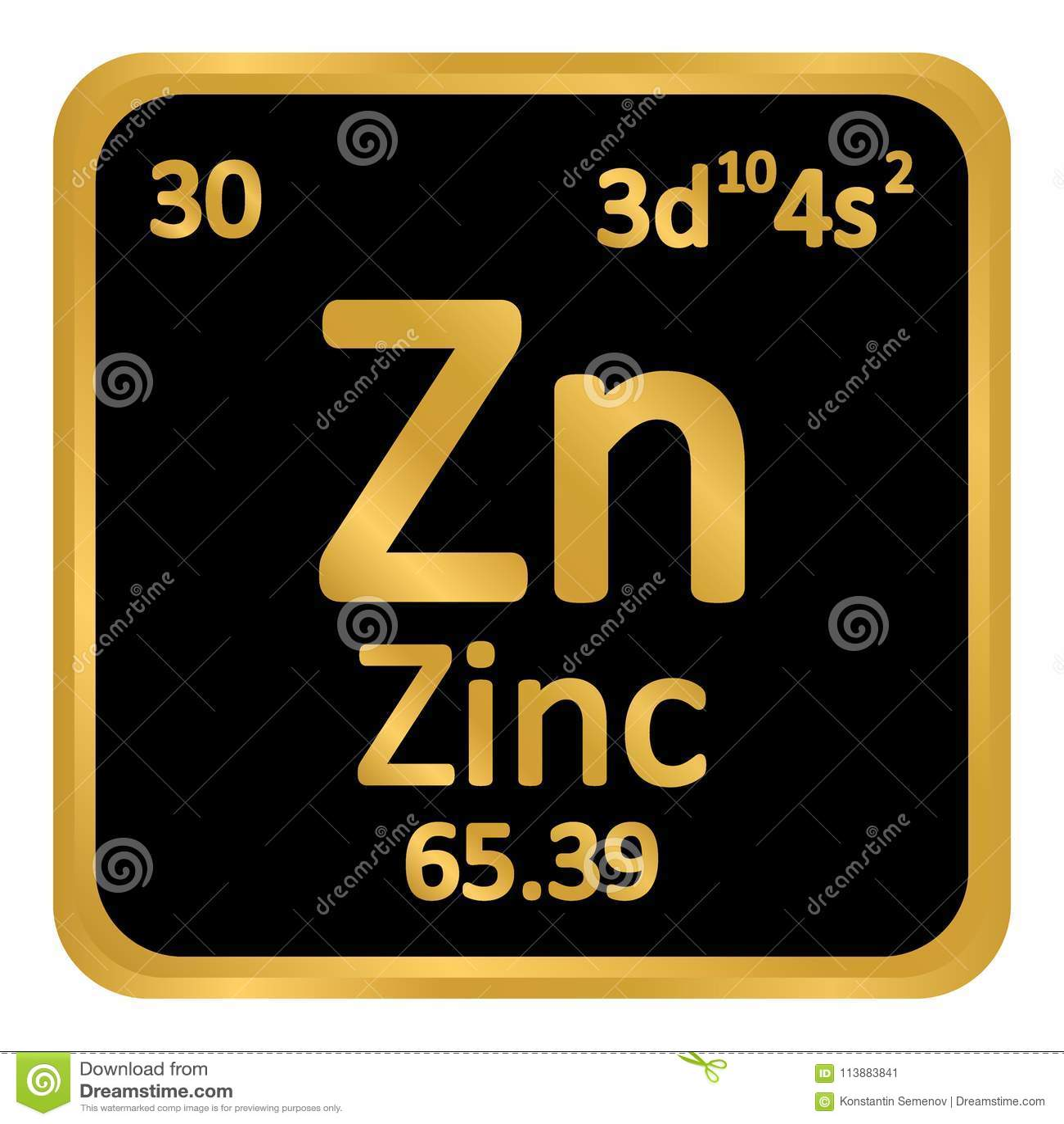 periodic table element zinc icon