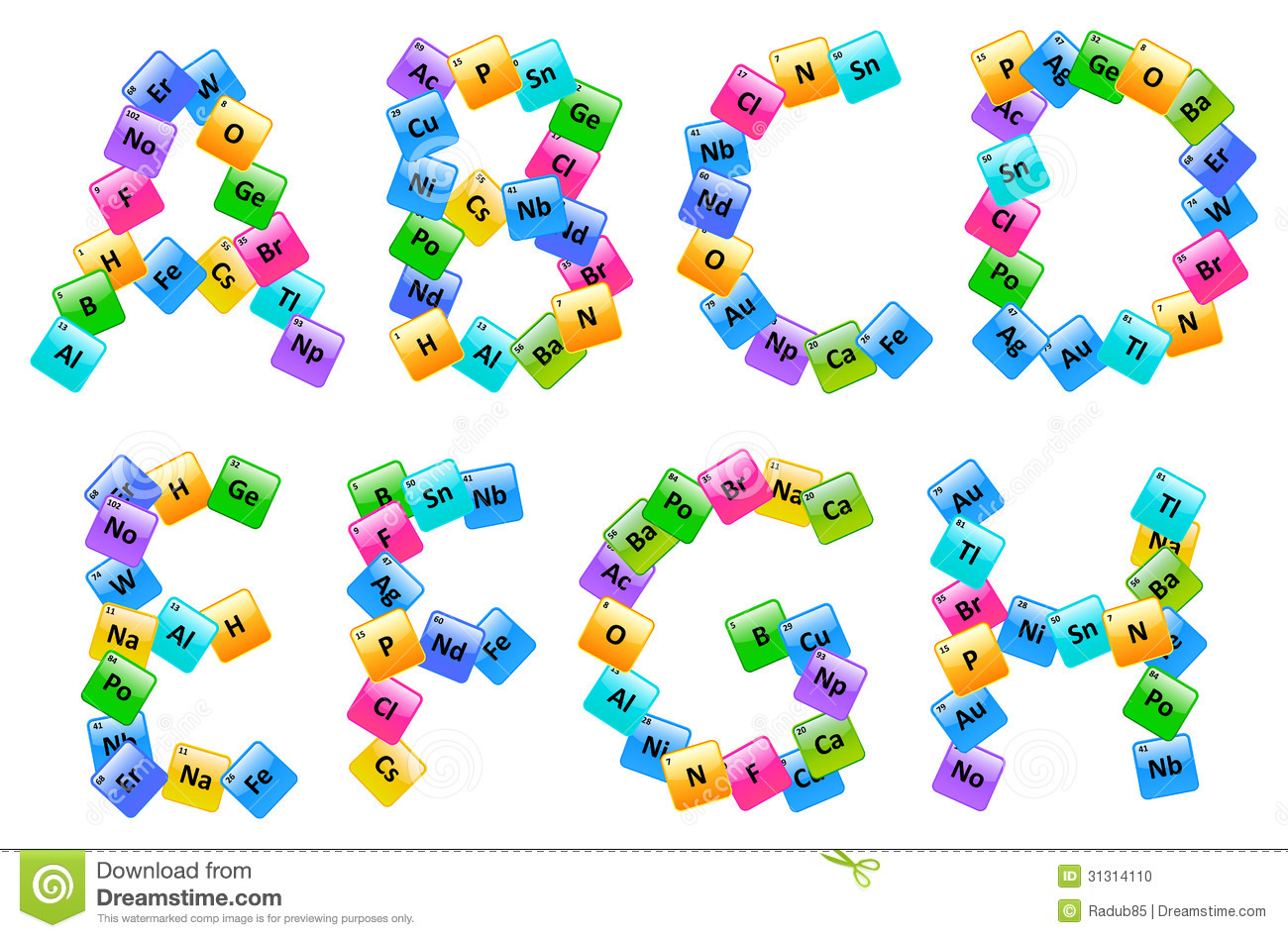 Periodic table of elements alphabet letters stock vector image periodic table of elements alphabet letters gamestrikefo Images