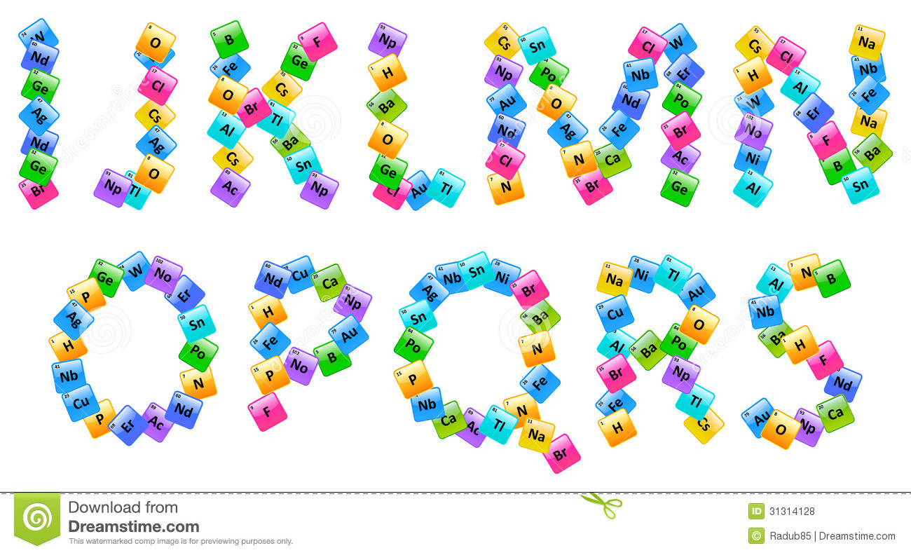 Periodic Table Of Elements Alphabet Letters Stock Vector