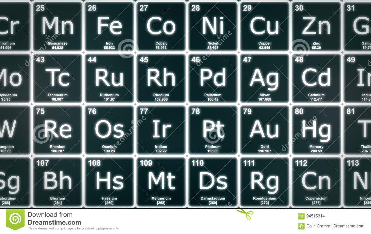 Periodic table of the elements closeup front stock illustration periodic table of the elements closeup front gamestrikefo Choice Image