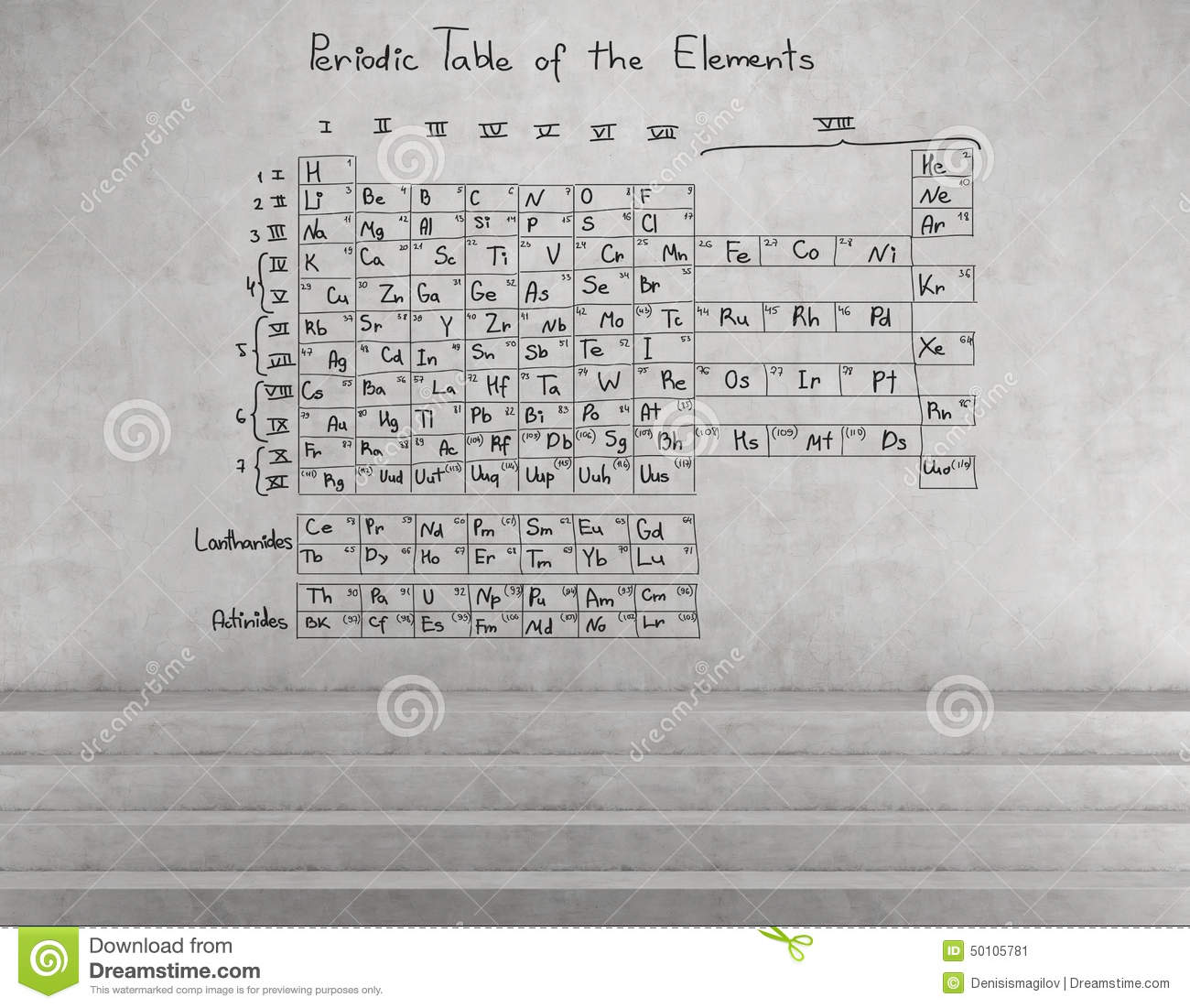 Periodic table of the elements stock image image of physics periodic table of the elements drawing on wall urtaz Gallery
