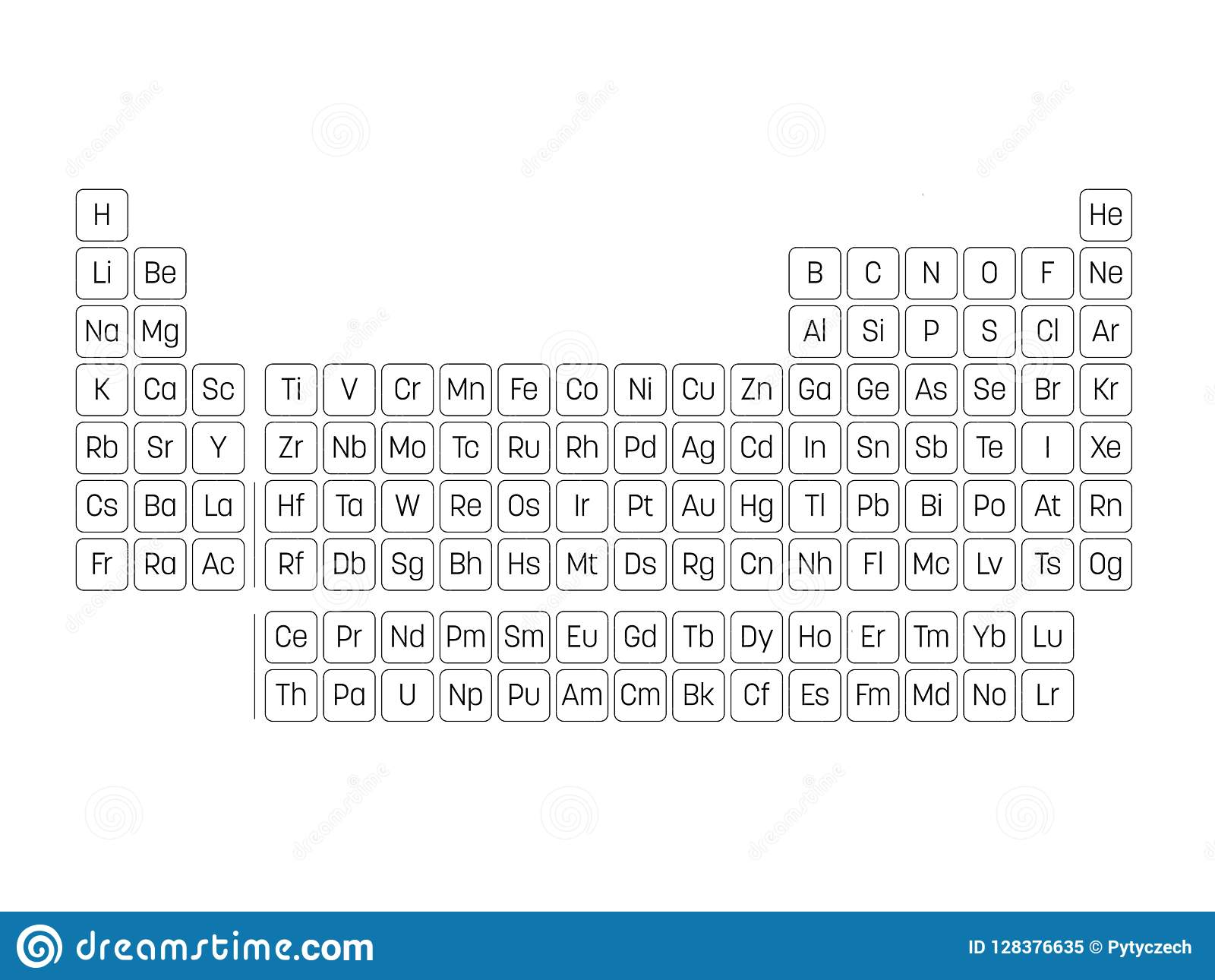 Periodic Table Of Elements Simple Table With Symbols Of Chemical