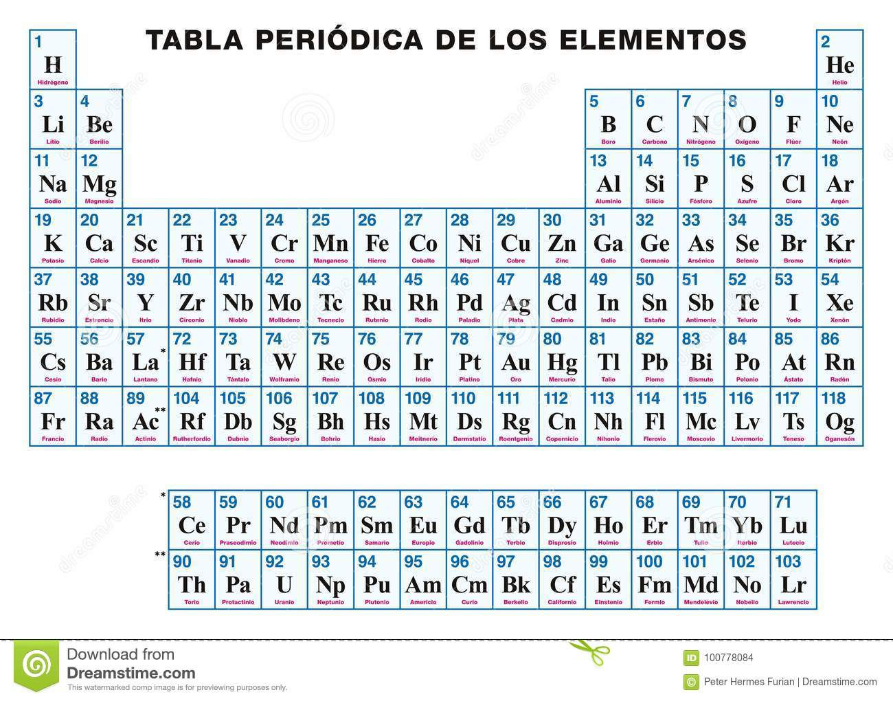Periodic Table Of The Elements Spanish Stock Vector Illustration