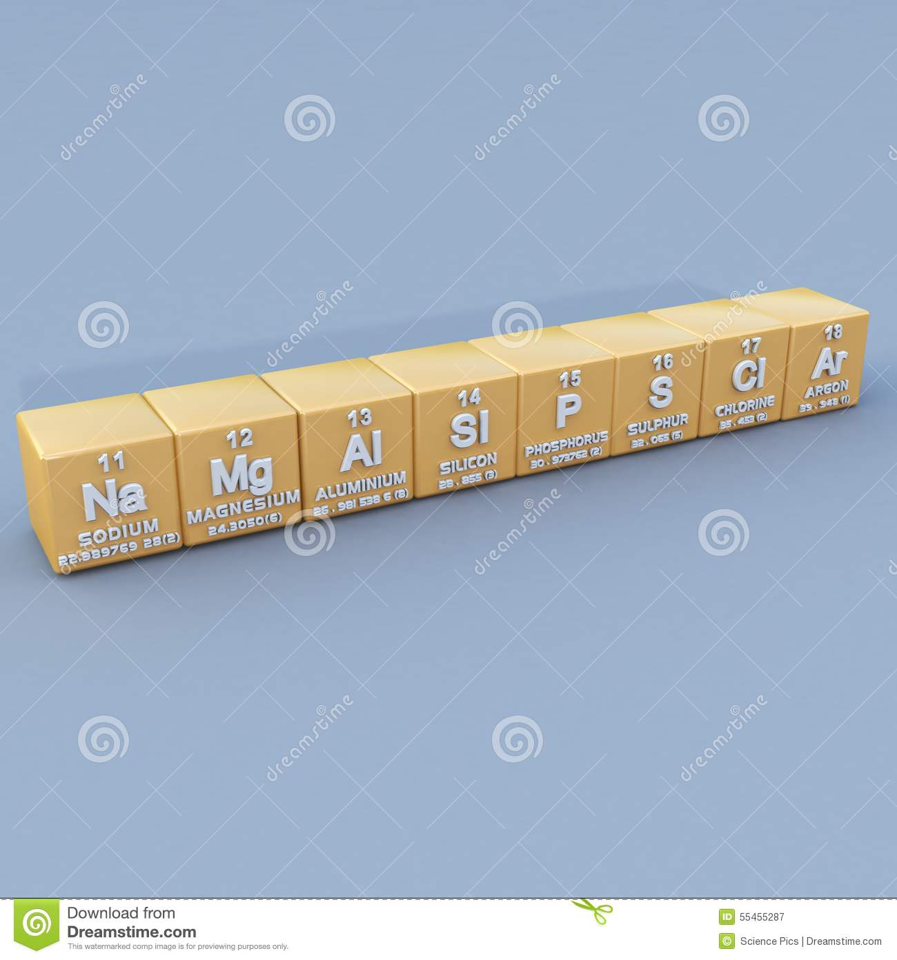 periodic table 3rd period stock illustration image 55455287. Black Bedroom Furniture Sets. Home Design Ideas