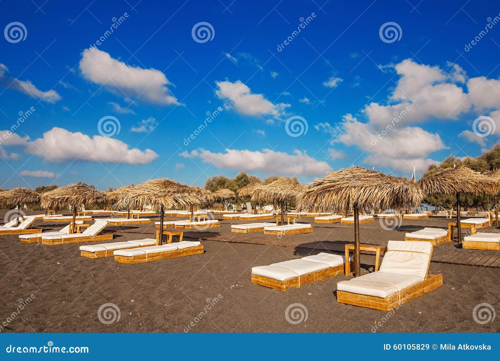 Perissa beach (Black Beach) on Santorini island