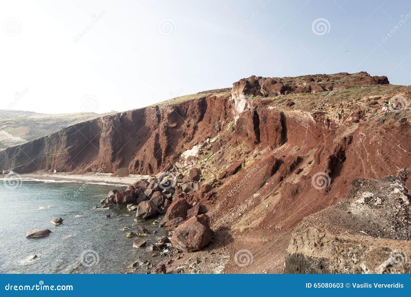 Perissa beach (Black Beach) on Santorini island, Greece