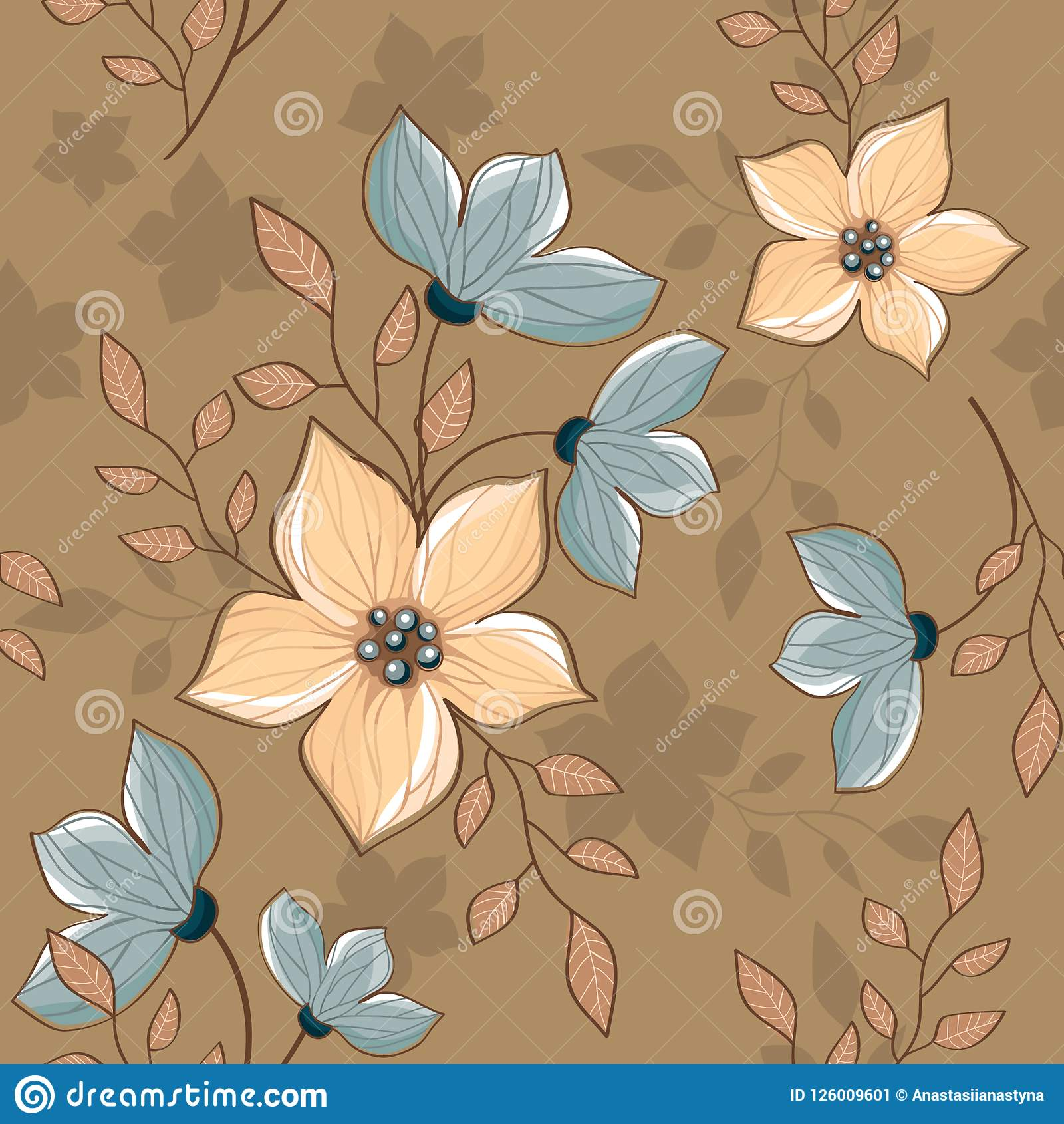 Seamless vintage decorative periwinkle pattern