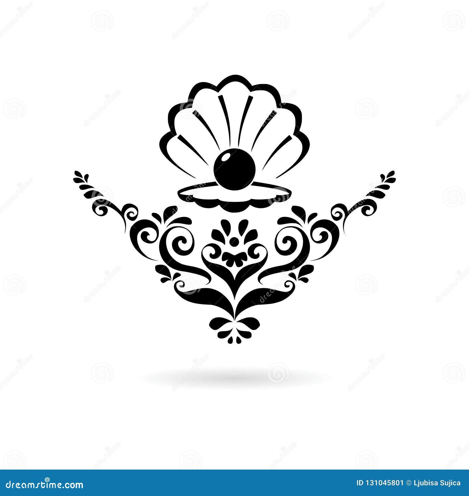 Perla del Mar Negro en cáscara abierta, icono del ornamento floral o logotipo