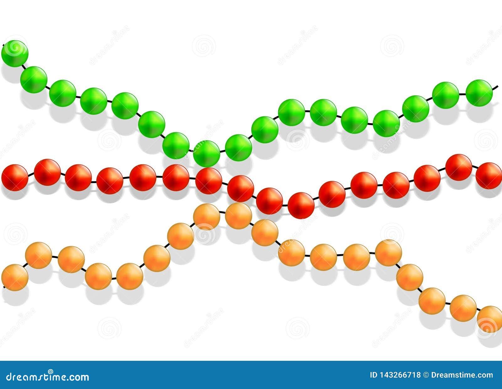 Perle multicolori su un fondo bianco