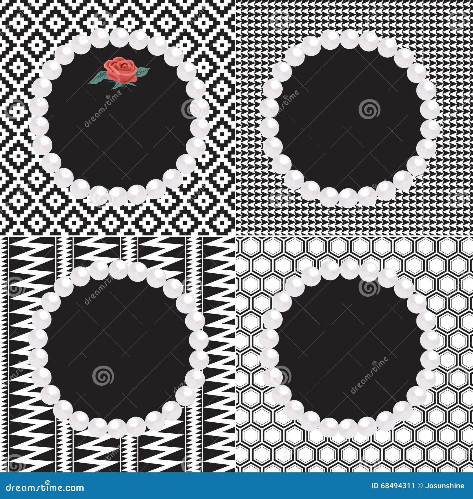 4 Perlen-Rahmen-Schwarz-Weiß-Muster Stock Abbildung - Illustration ...