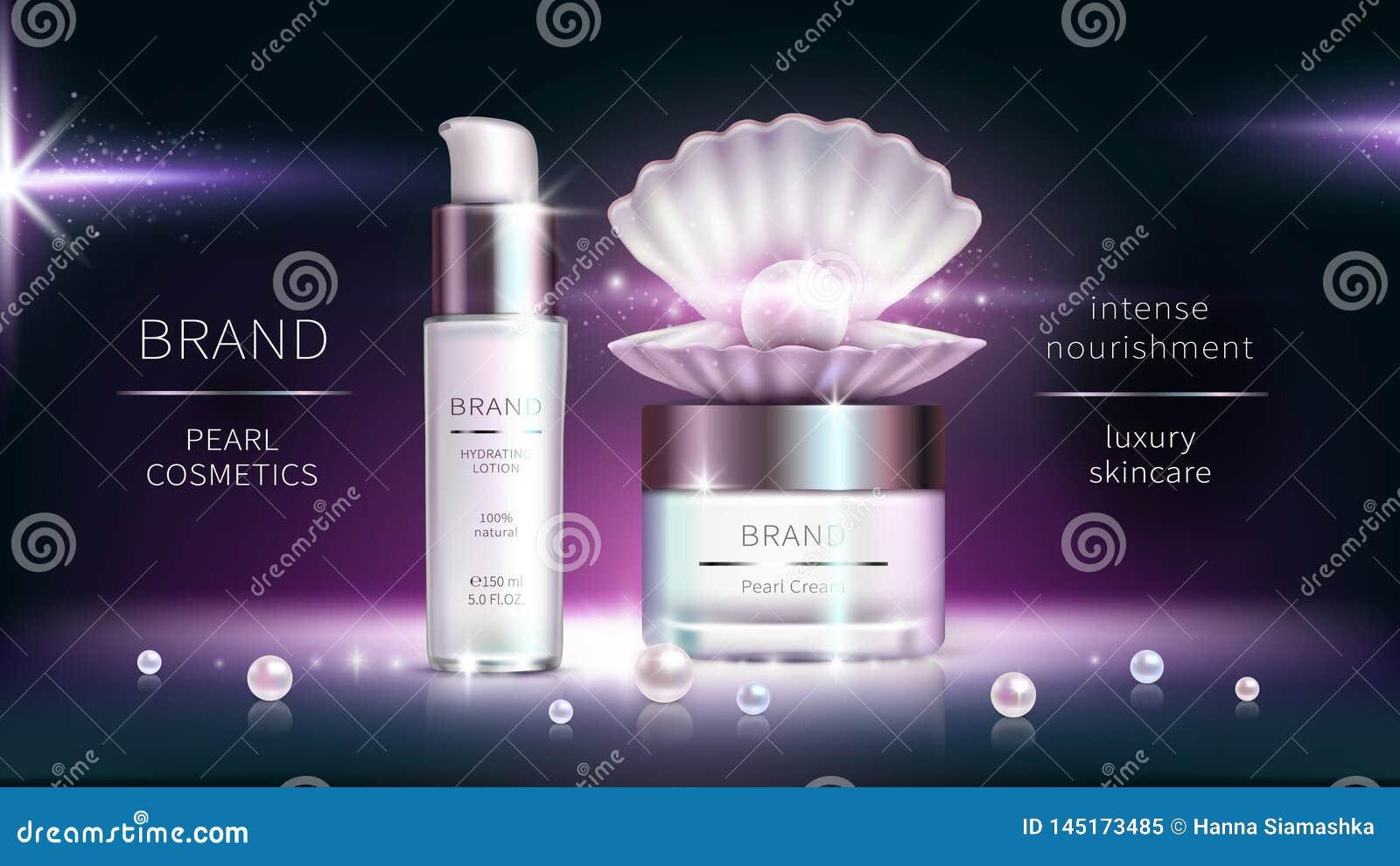 Perlenkosmetik, realistisches Werbungsplakat des Vektors