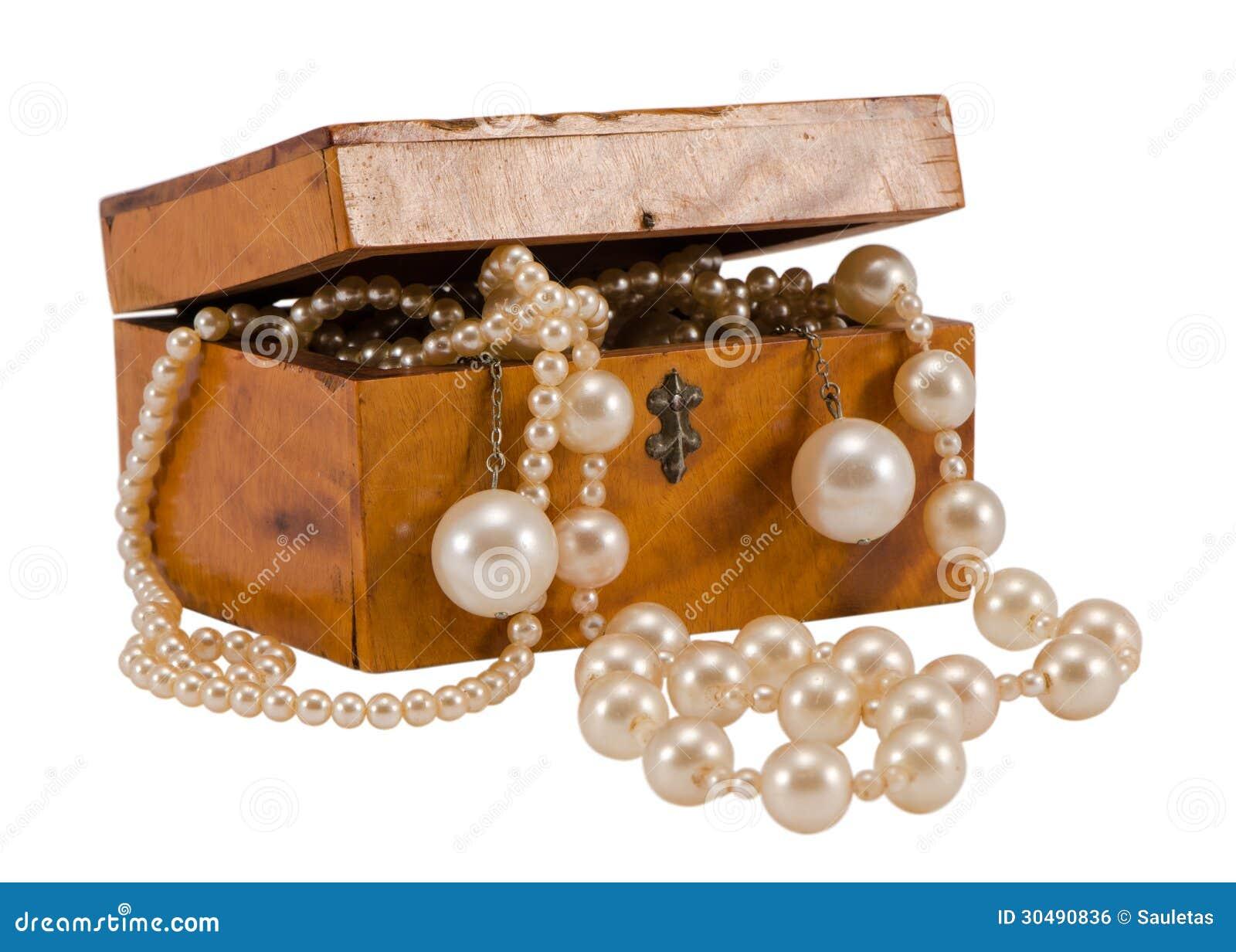 Perlez boîte en bois de chaîne de bijoux de perle la rétro d isolement