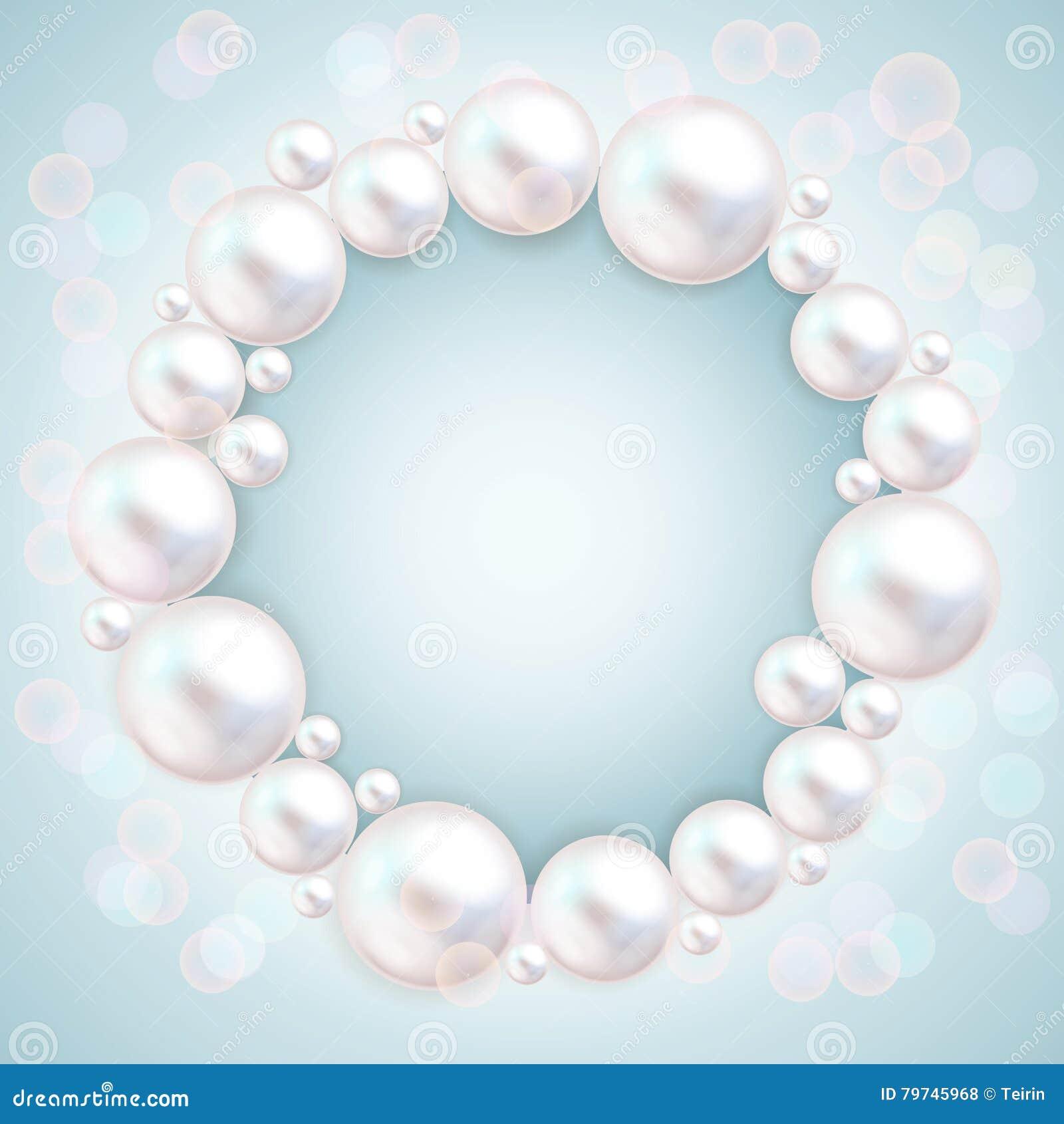 perlez les perles épousant le cadre d'invitation sur le fond bleu