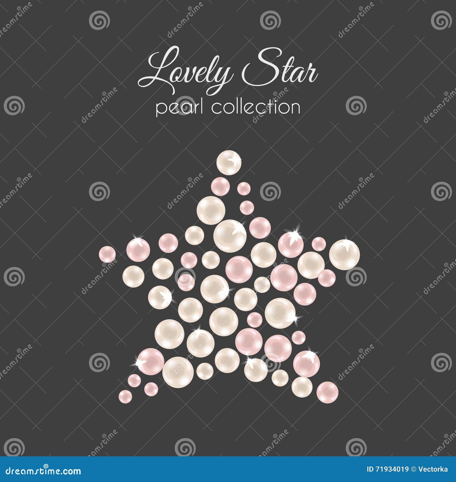 Perls вектора Жемчуг в форме звезды Розовый дизайн жемчугов с sparkles
