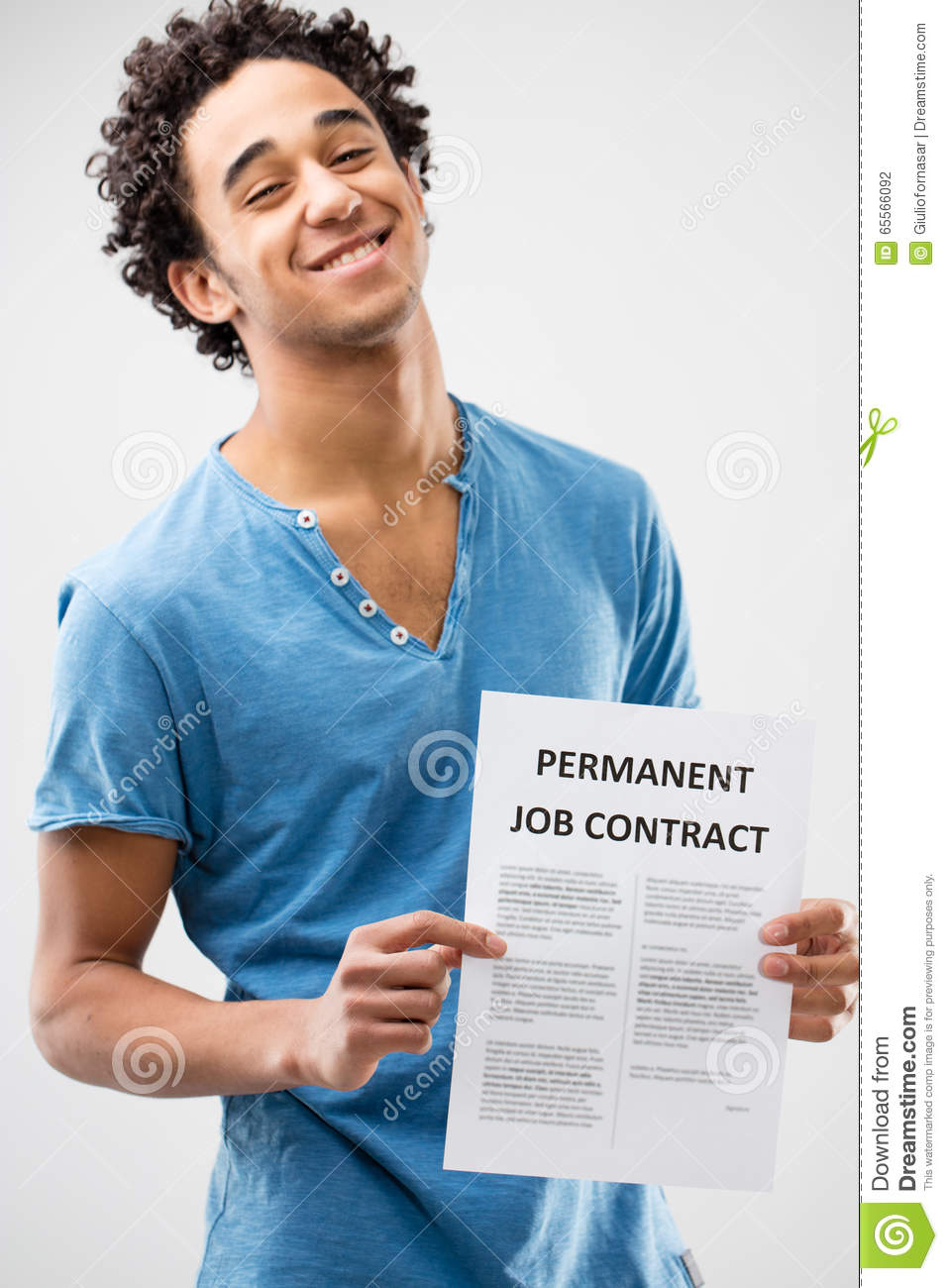 permanent job contract shown by a young man stock photo image permanent job contract shown by a young man