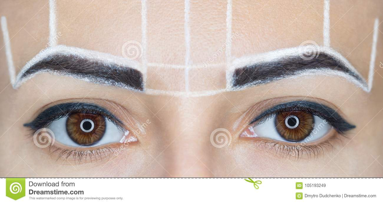 Permanent Make Up For Eyebrows Of Beautiful Woman With Thick Brows
